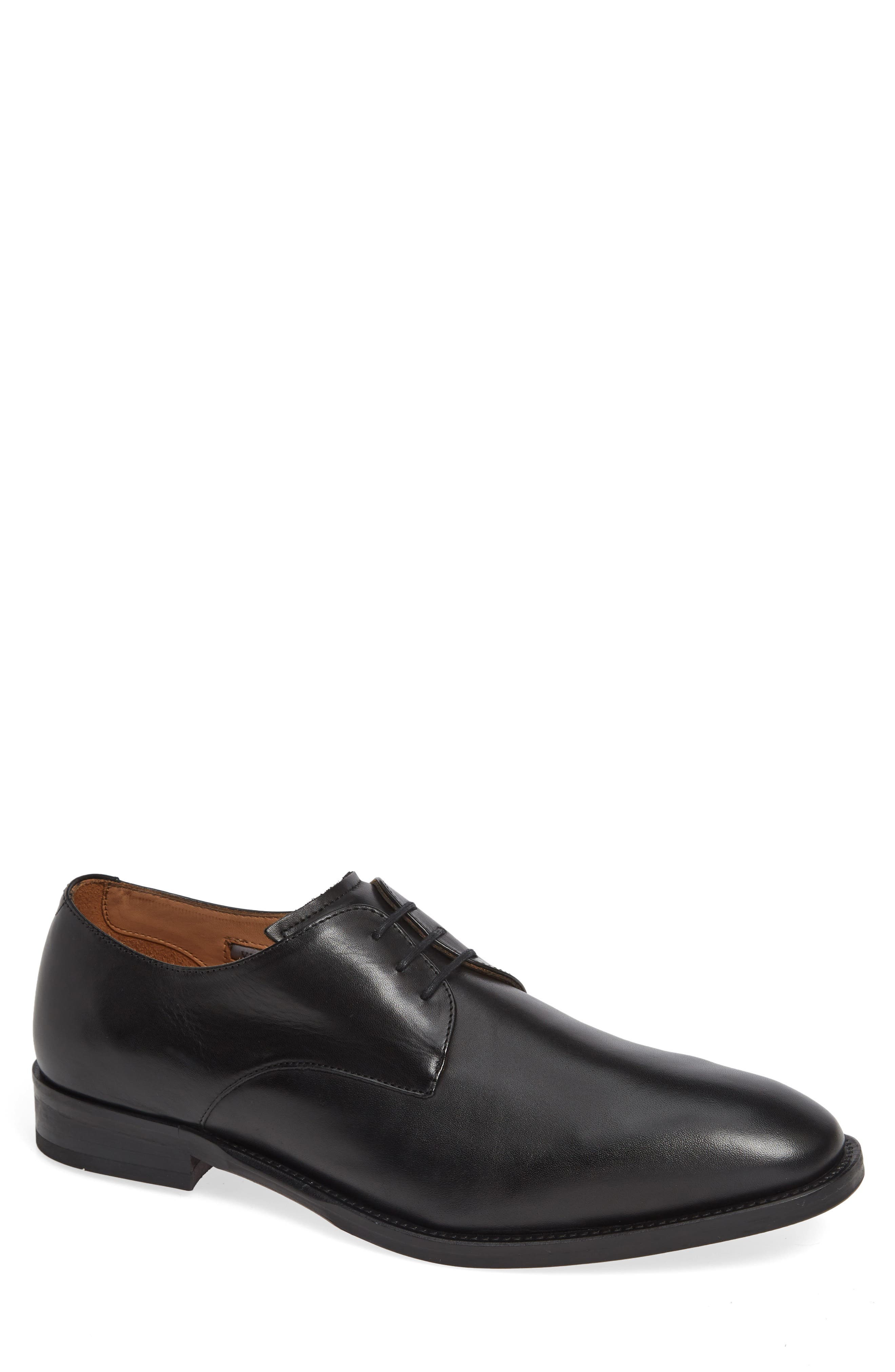 Hasper Plain Toe Derby,                             Main thumbnail 1, color,                             BLACK LEATHER