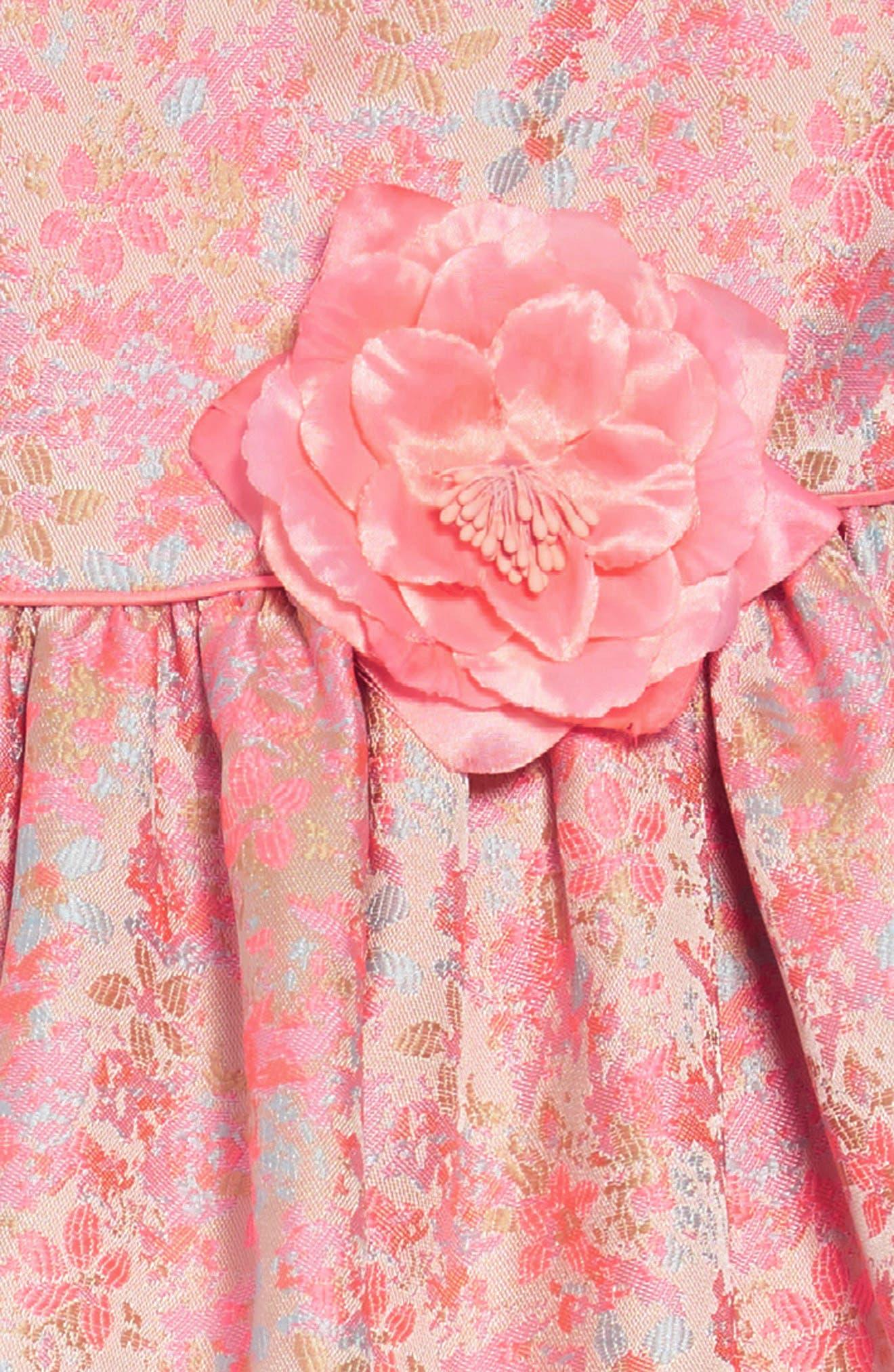 Summer Floral Jacquard Dress,                             Alternate thumbnail 3, color,