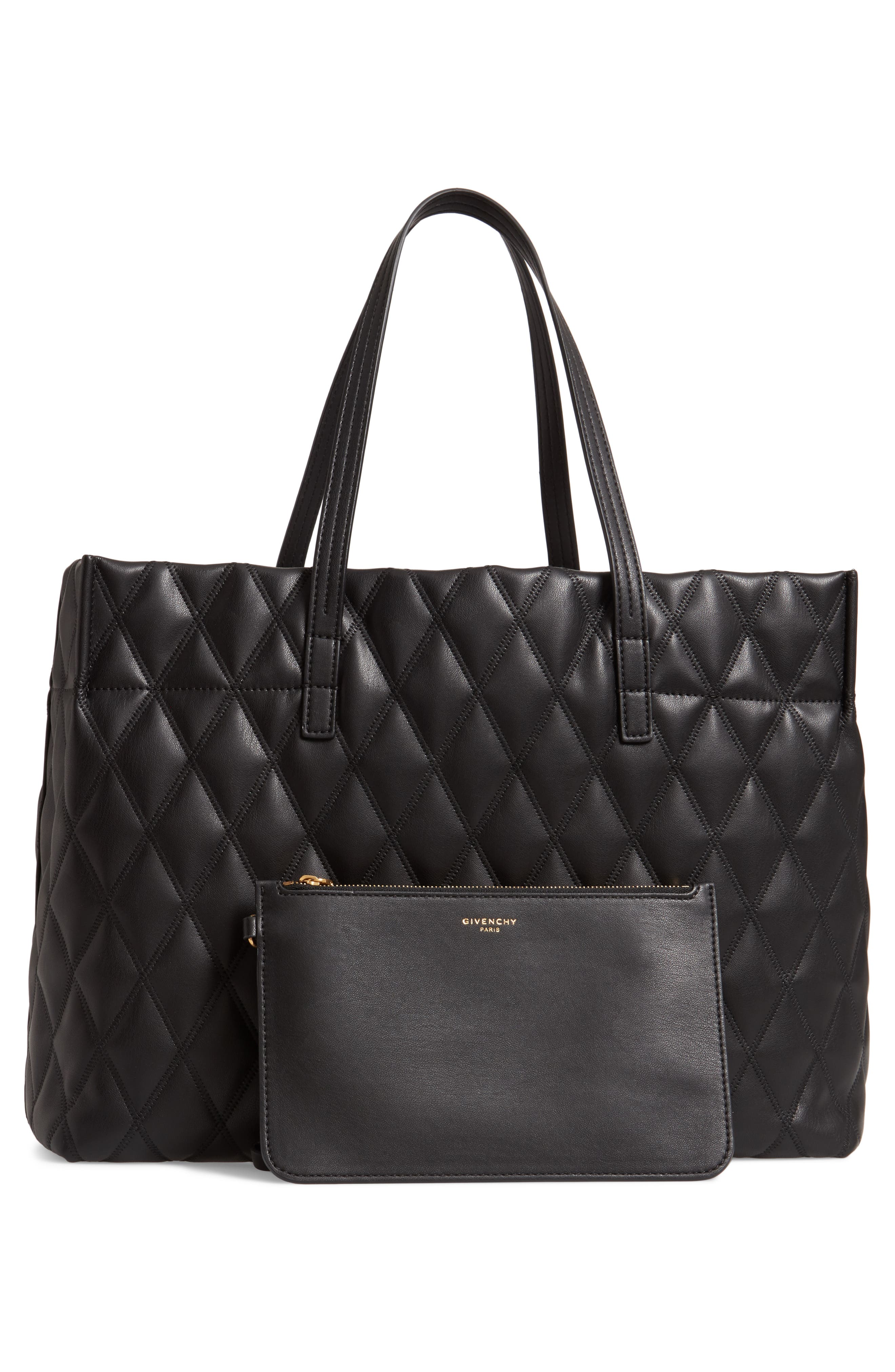 Quilted East/West Faux Leather Shopper,                             Alternate thumbnail 3, color,                             BLACK
