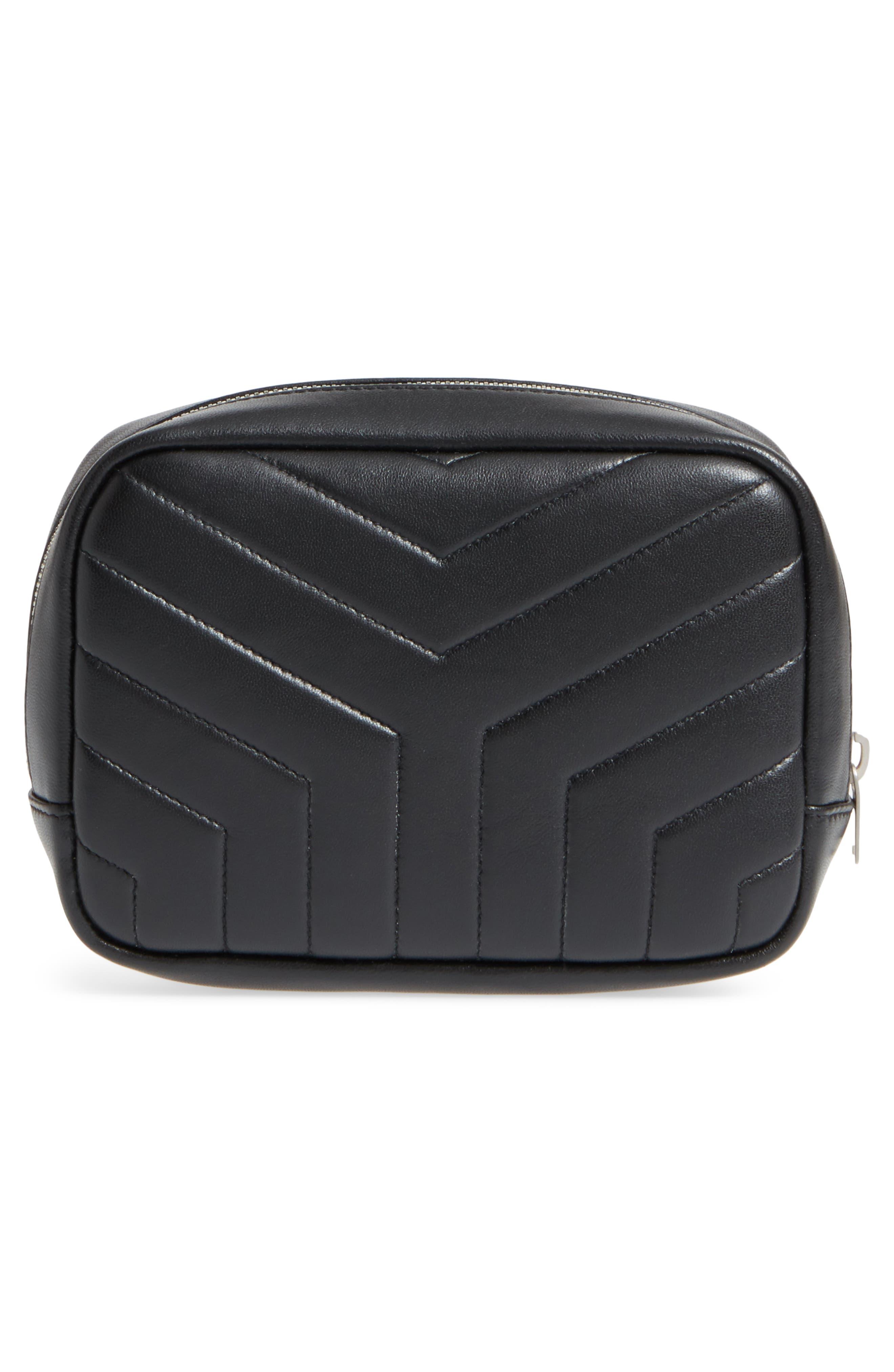 Loulou Matelassé Leather Cosmetics Bag,                             Alternate thumbnail 2, color,                             BLACK