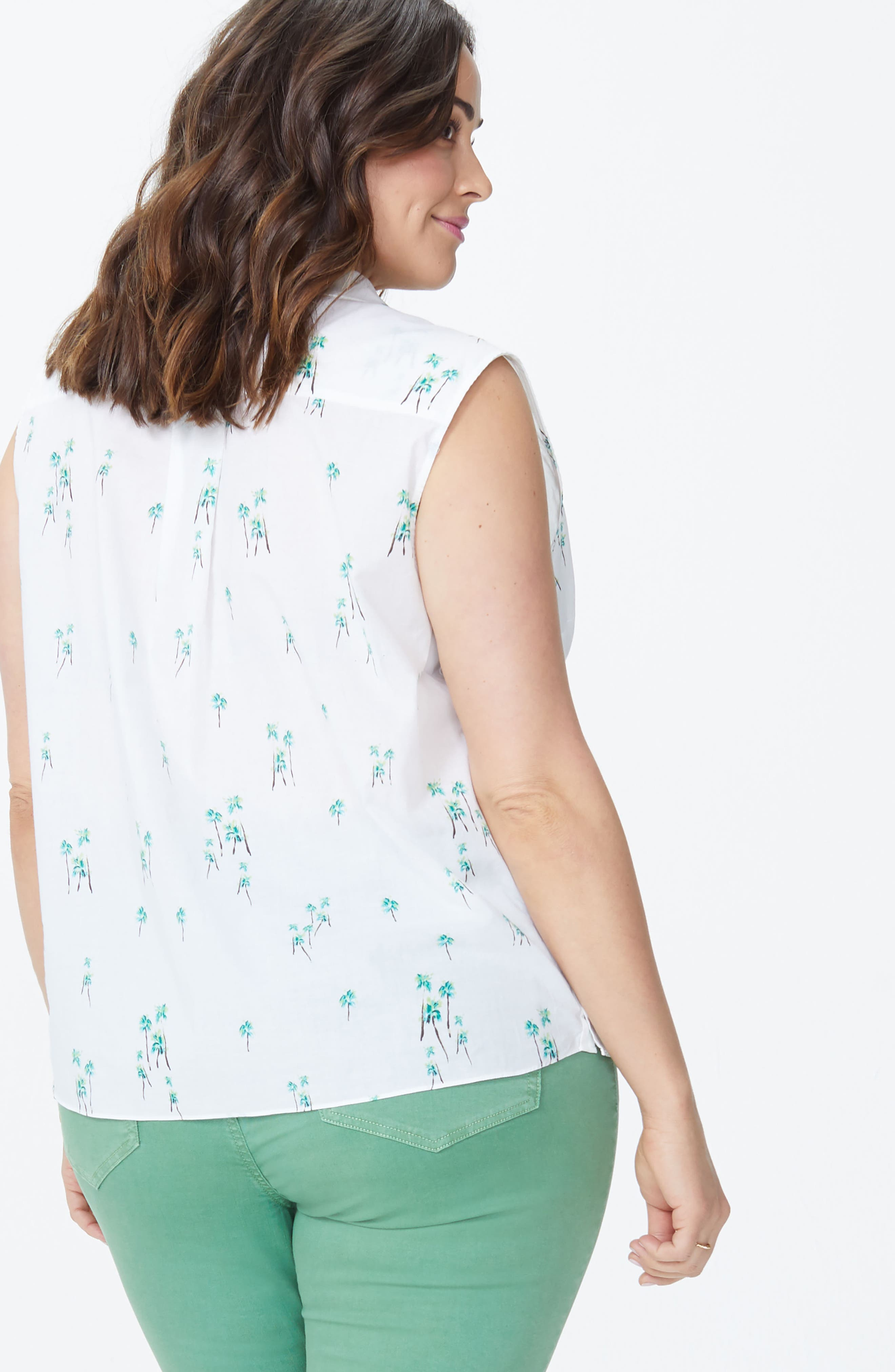 Palm Print Top,                             Alternate thumbnail 5, color,                             THREE PALMS OPTIC WHITE