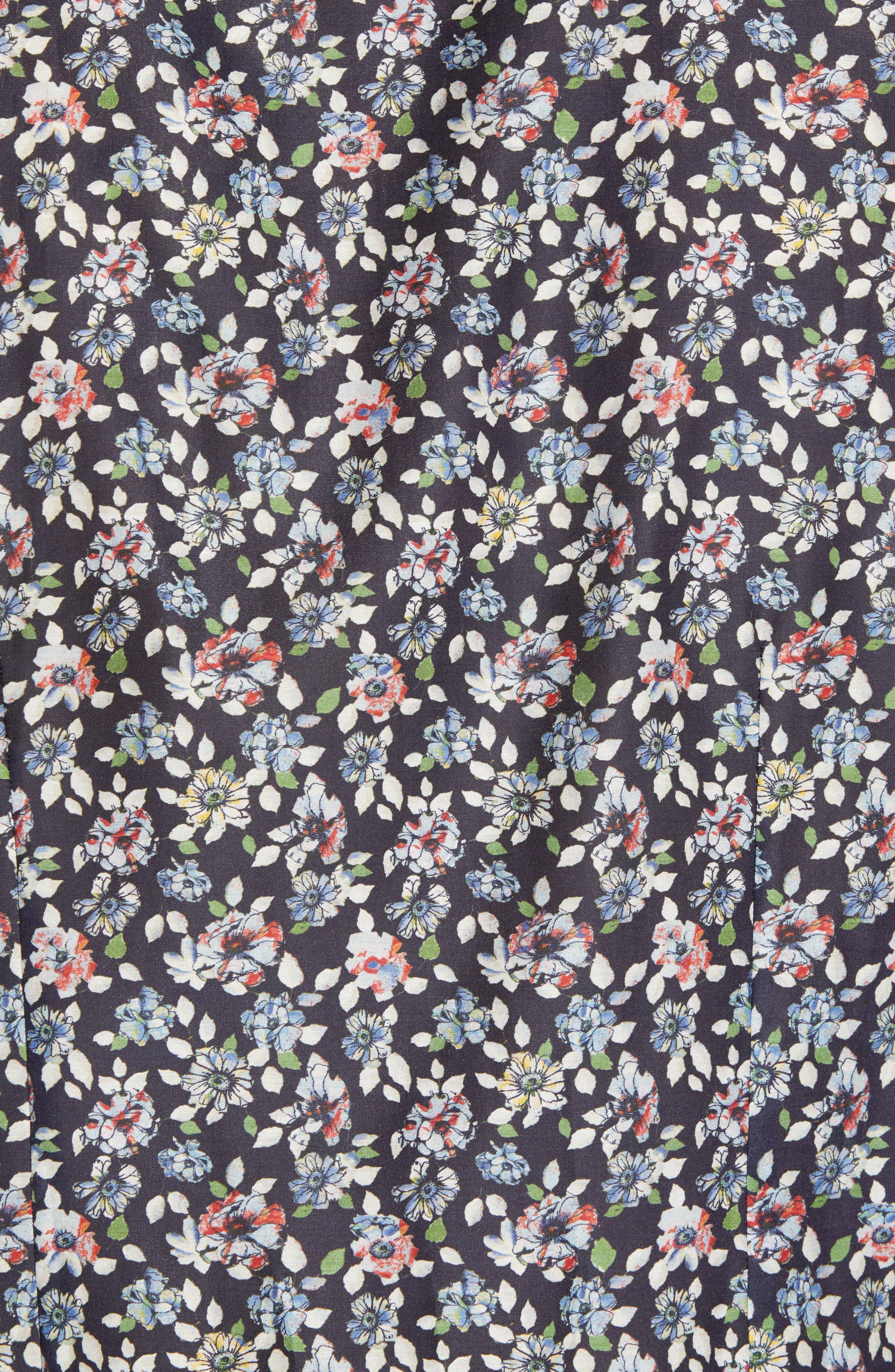 Trim Fit Print Cotton & Silk Sport Shirt,                             Alternate thumbnail 5, color,