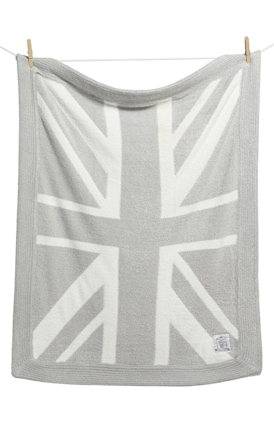 'Dolce Union Jack' Blanket,                         Main,                         color, SILVER
