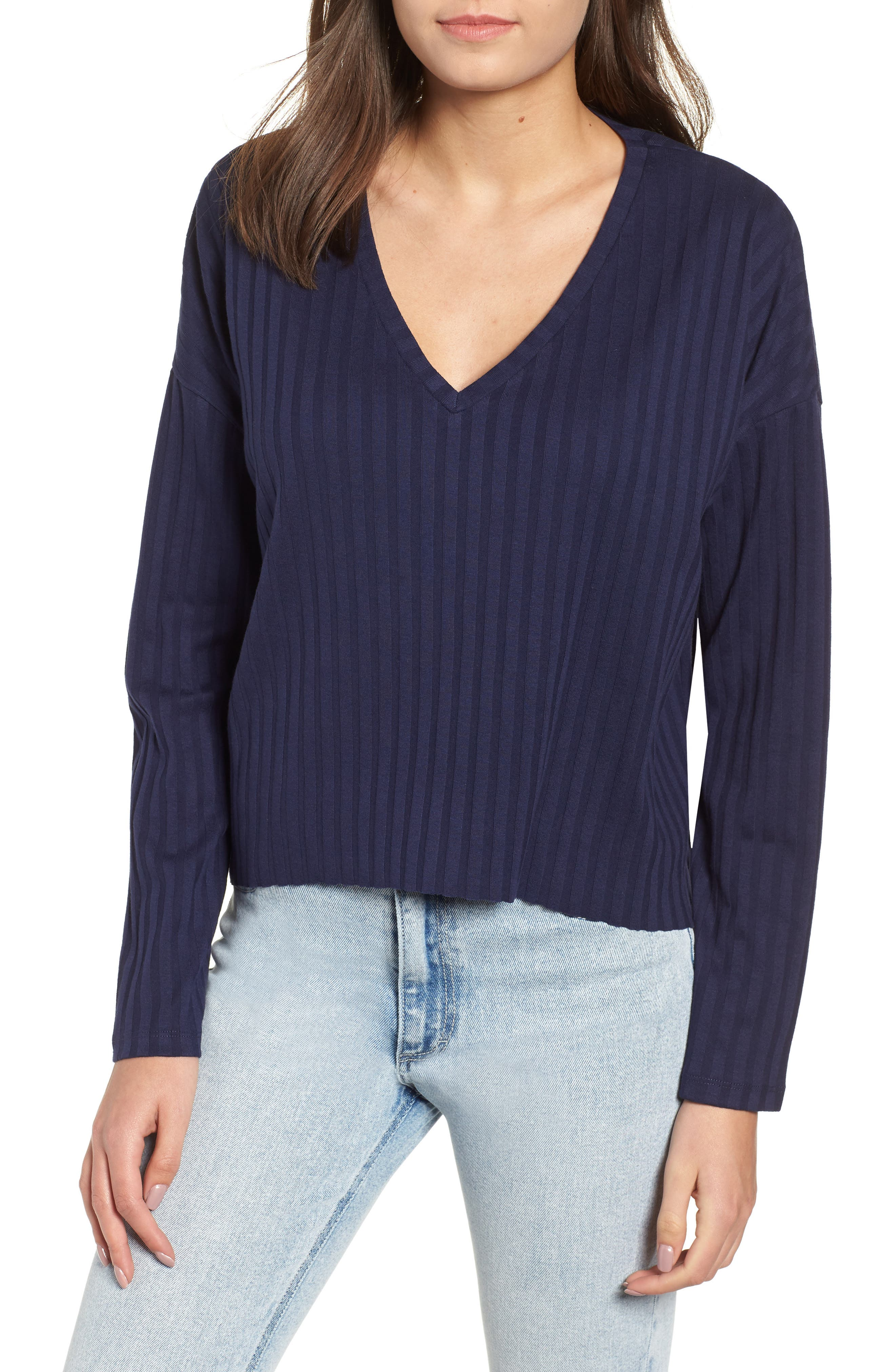 Wide Rib Crop Sweater,                         Main,                         color, NAVY MARITIME