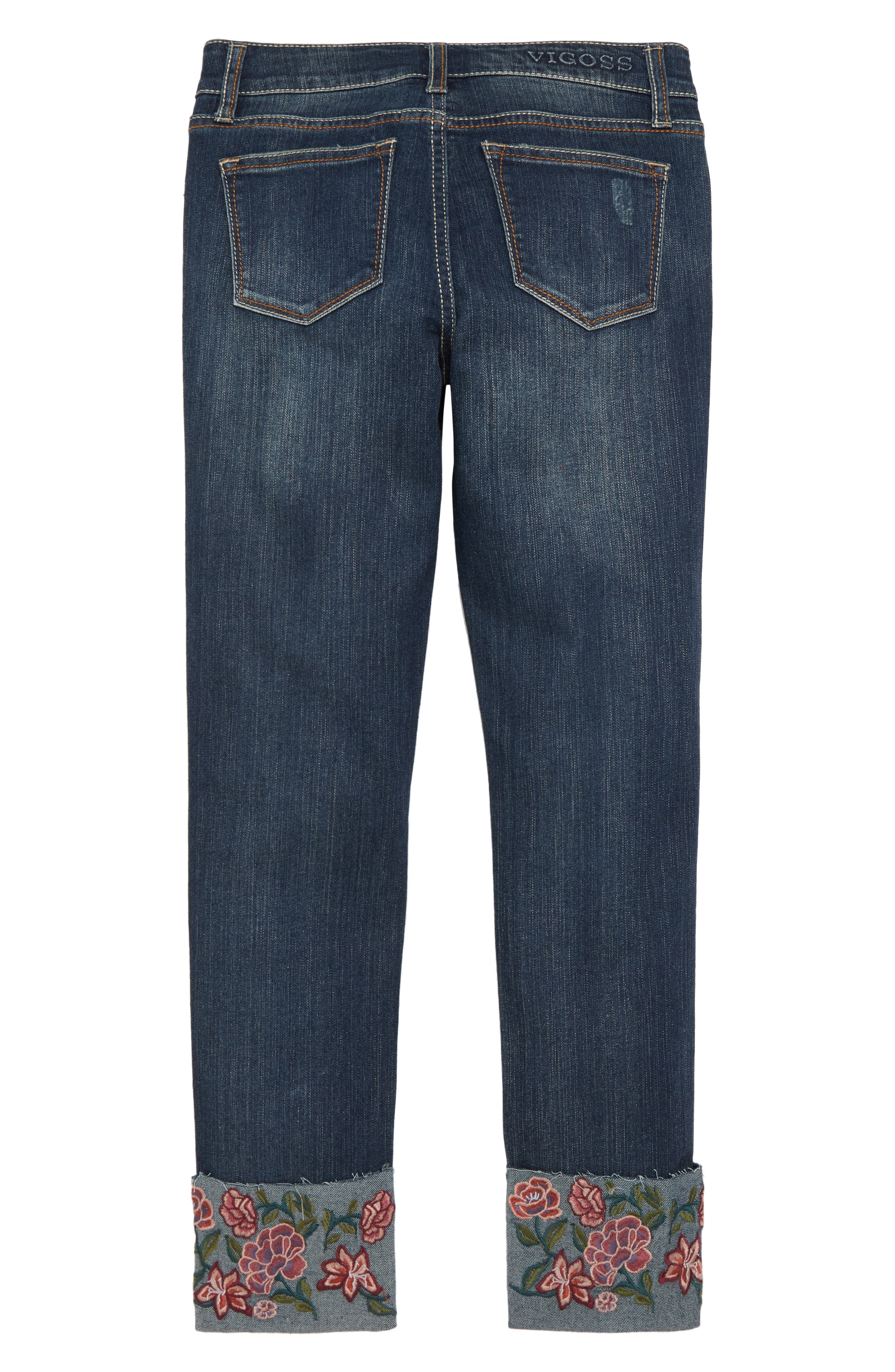Embroidered Cuff Jeans,                             Alternate thumbnail 2, color,                             DARK MIDNIGHT/ DMN
