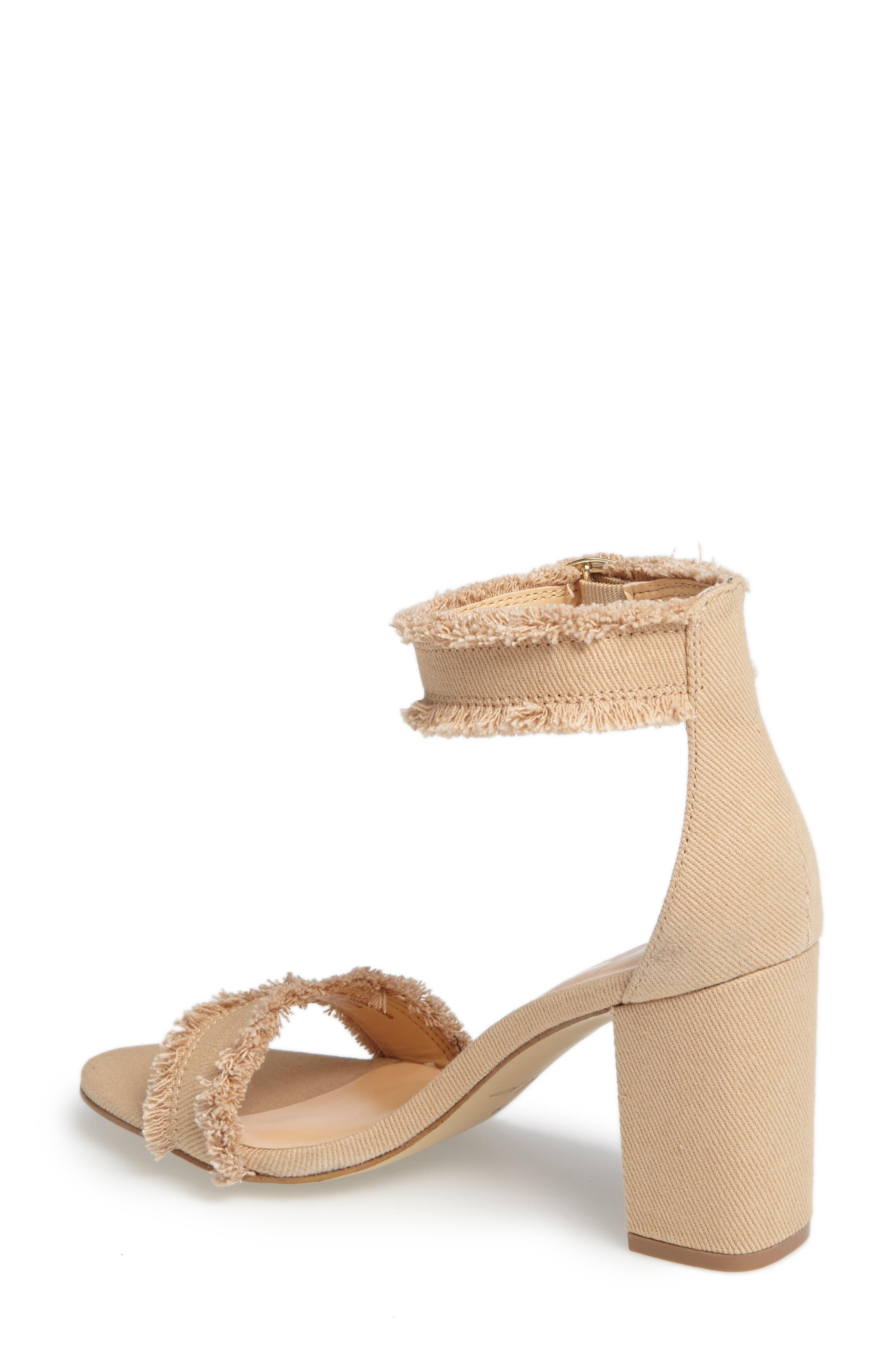 by Zendaya Shasta Fringe Denim Ankle Strap Sandal,                             Alternate thumbnail 5, color,