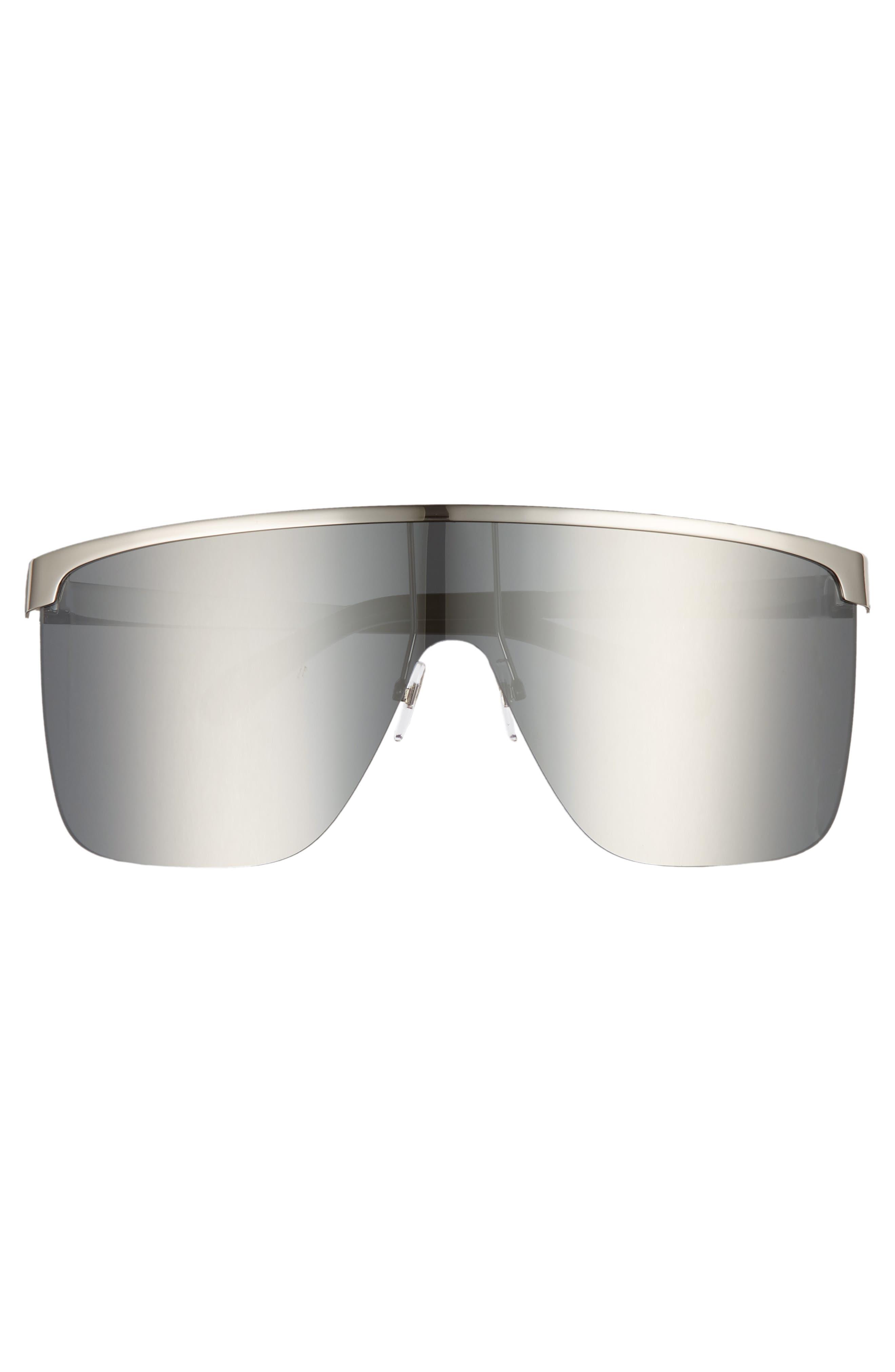70mm Rimless Shield Sunglasses,                             Alternate thumbnail 3, color,                             PALLADIUM