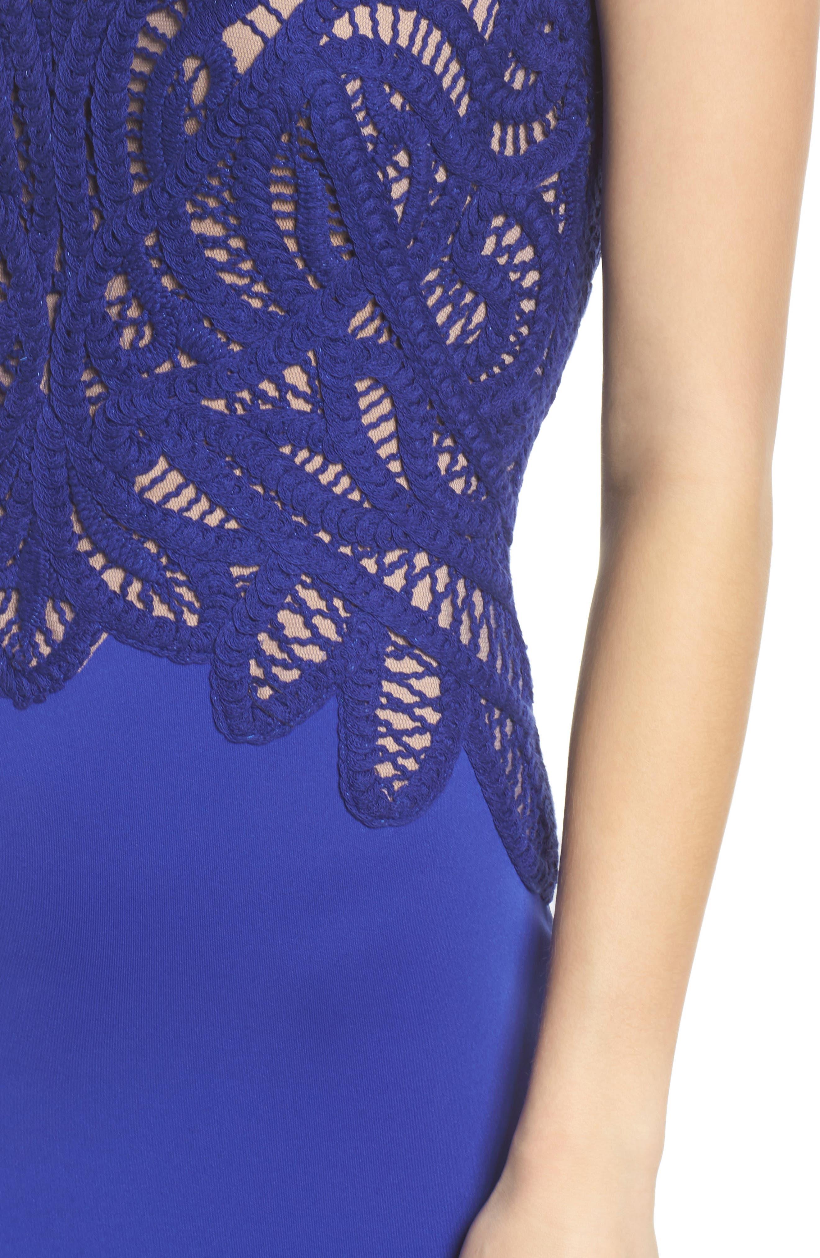 Crochet & Crepe Sheath Dress,                             Alternate thumbnail 4, color,                             404