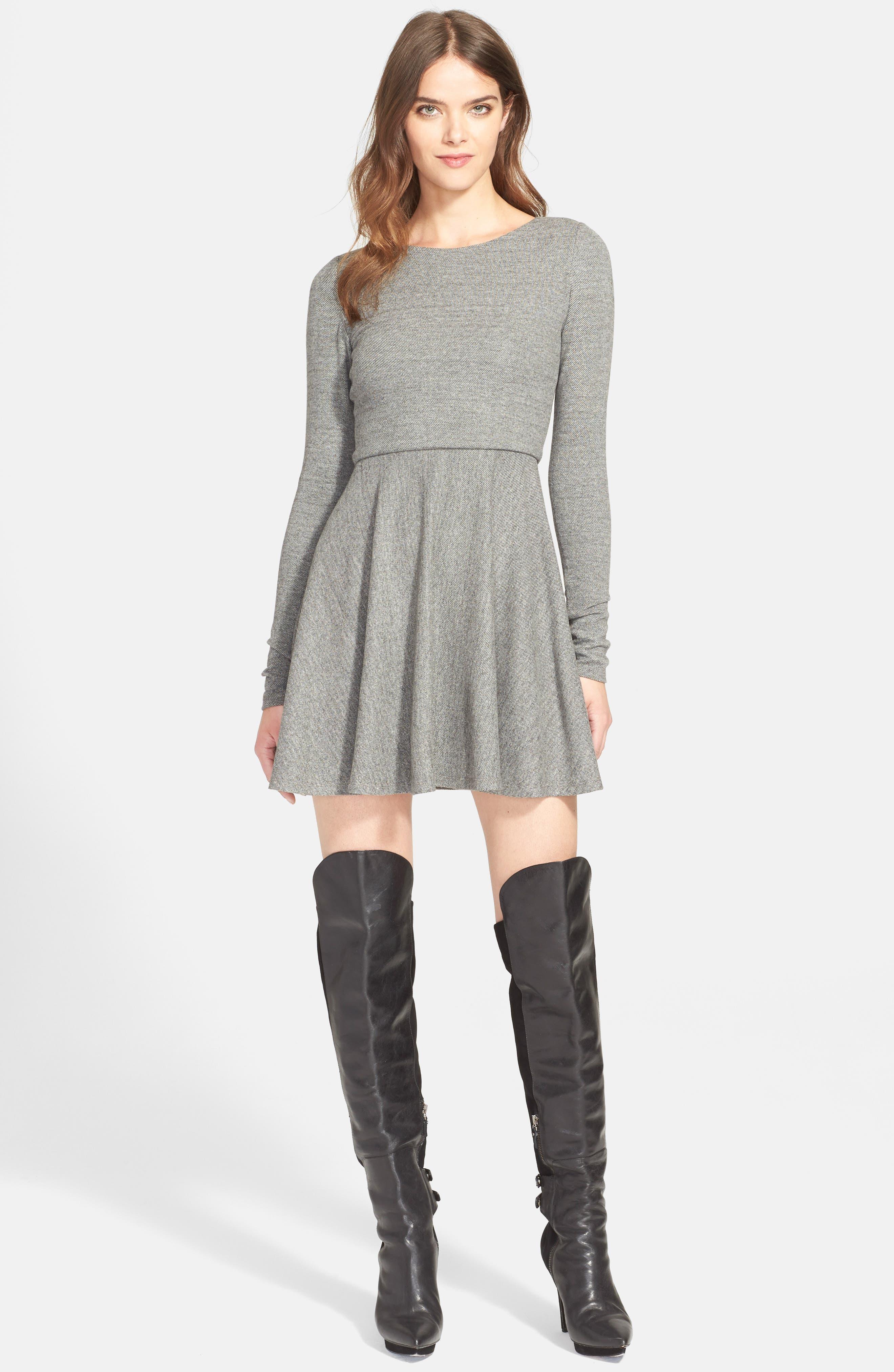 'Brinley' Long Sleeve Mini Dress,                             Main thumbnail 1, color,                             GREY