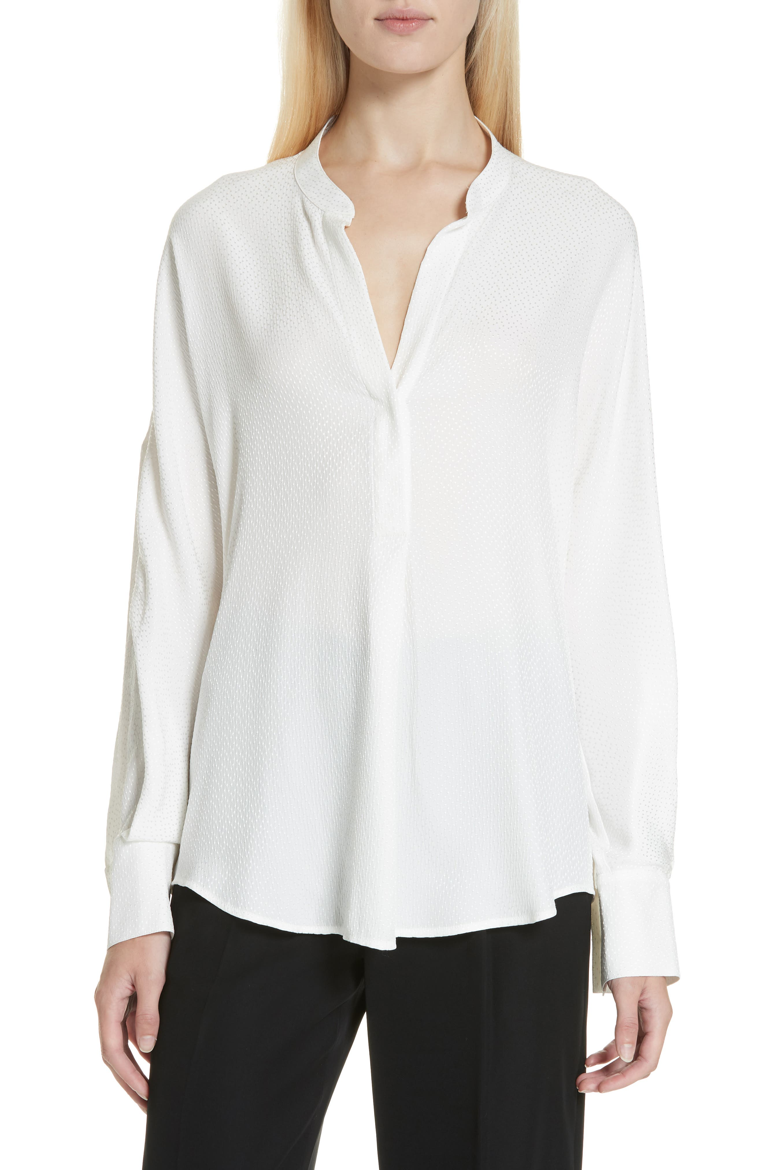 Dot Jacquard Band-Collar Popover Blouse in Off White