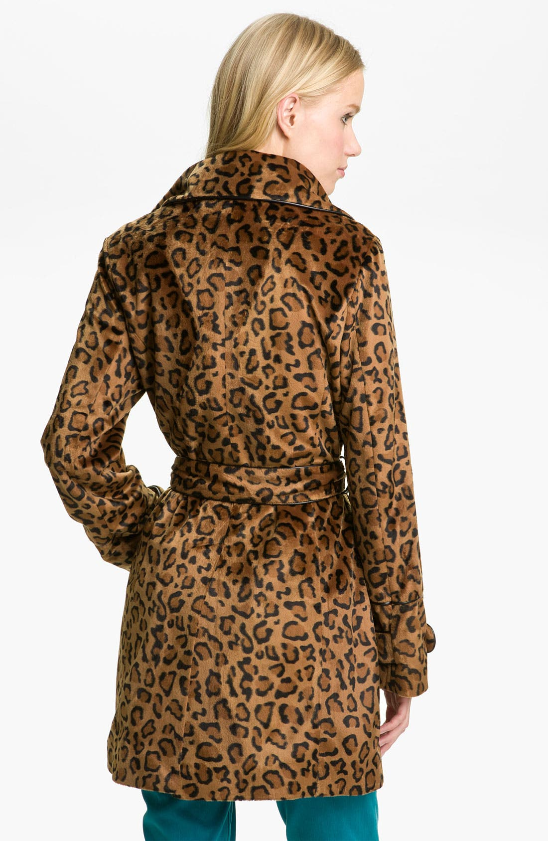 BETSEY JOHNSON,                             Faux Fur Trench Coat,                             Alternate thumbnail 2, color,                             700