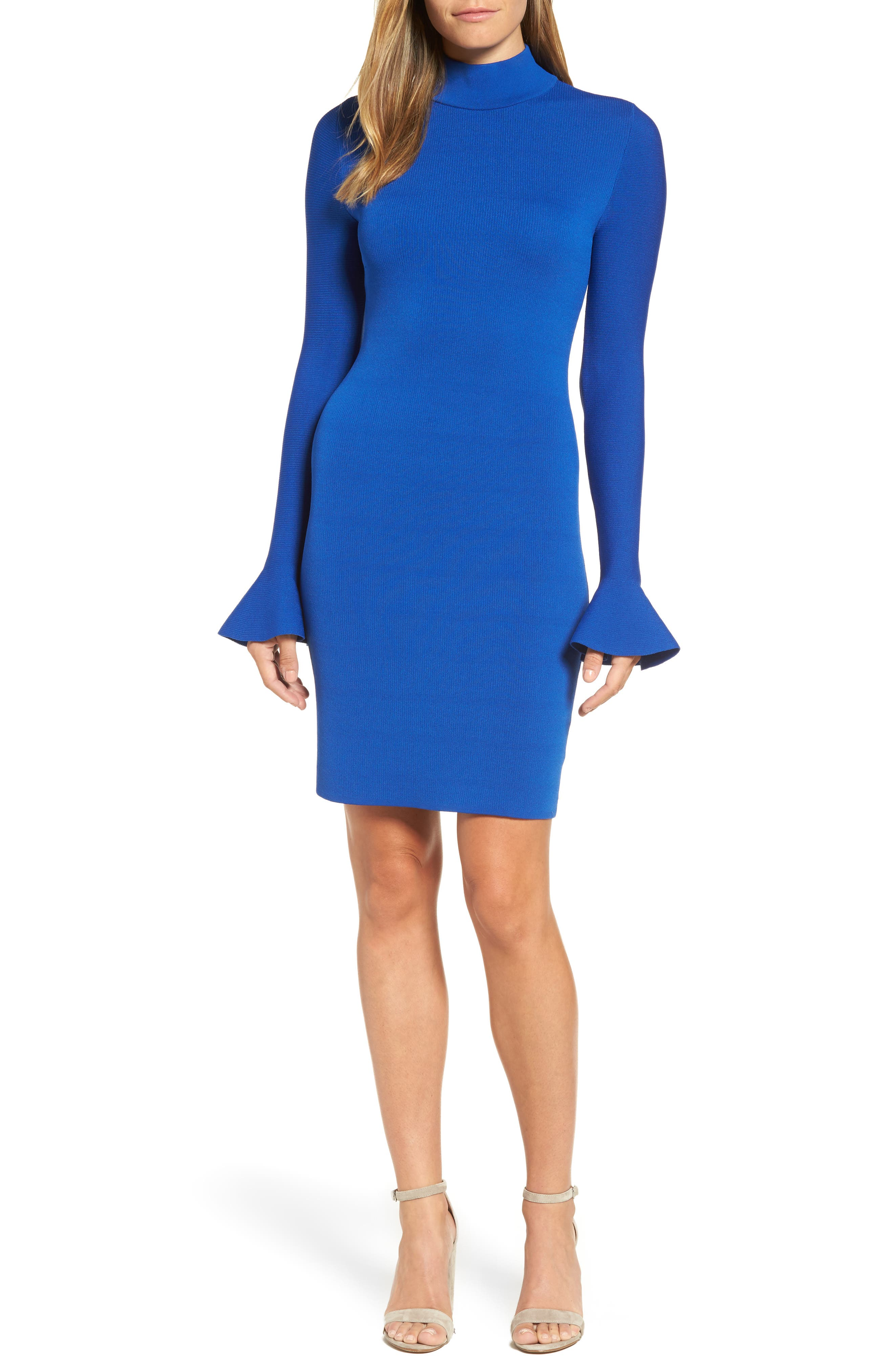 Bell Sleeve Body-Con Dress,                             Main thumbnail 1, color,                             403