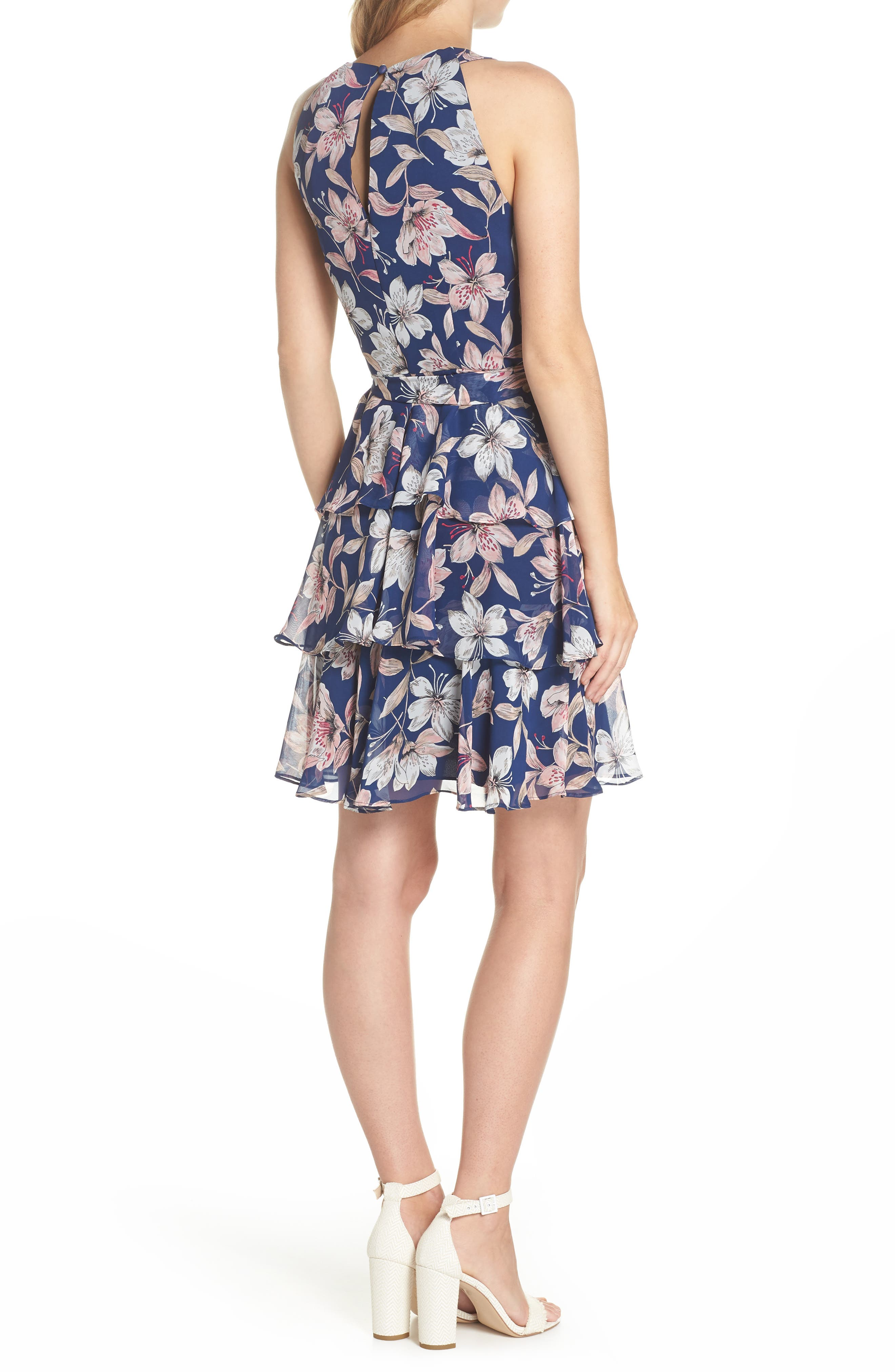 Tiered Chiffon Dress,                             Alternate thumbnail 2, color,                             410