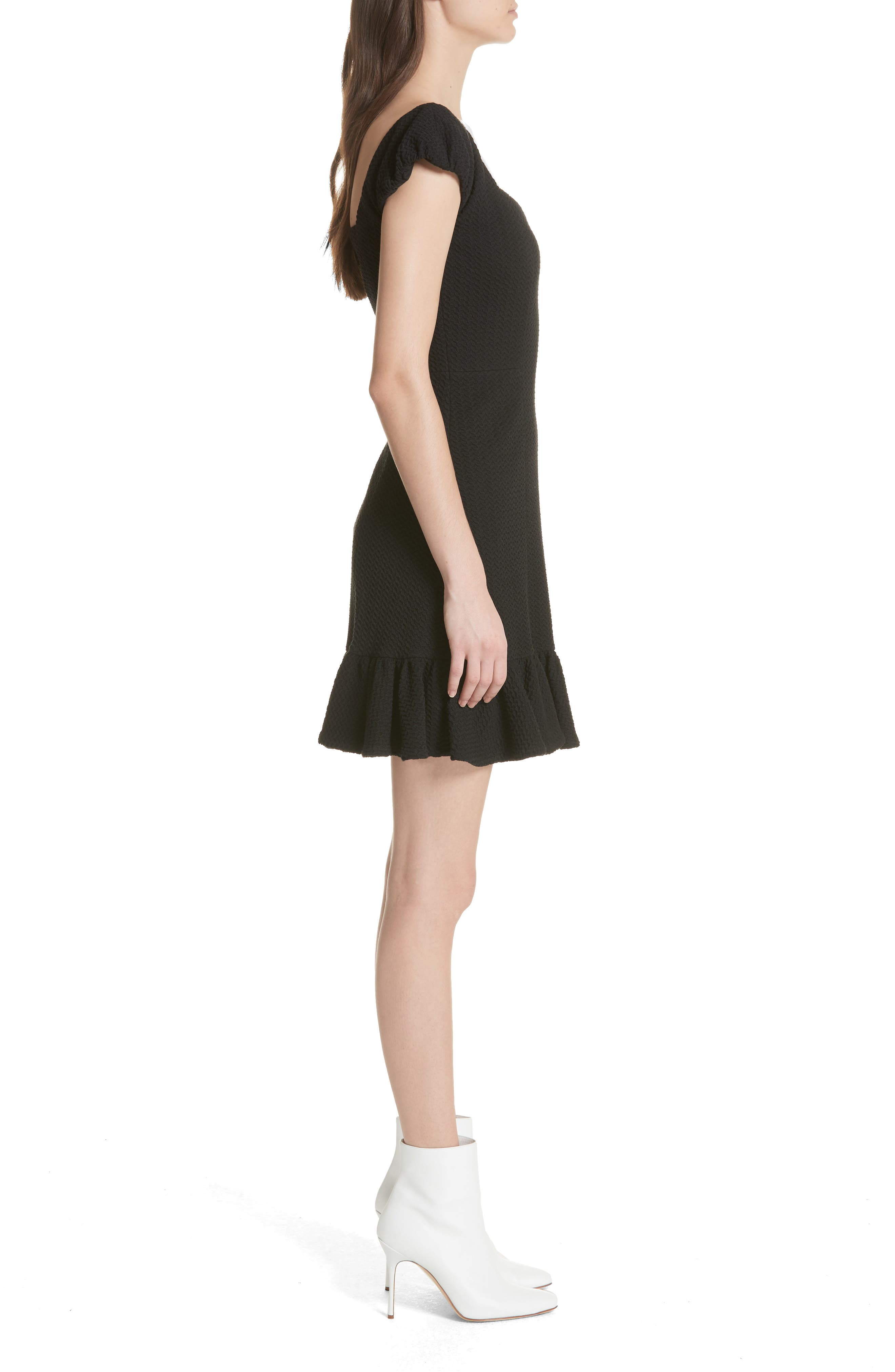 Cap Sleeve Ruffle Hem Dress,                             Alternate thumbnail 3, color,                             001