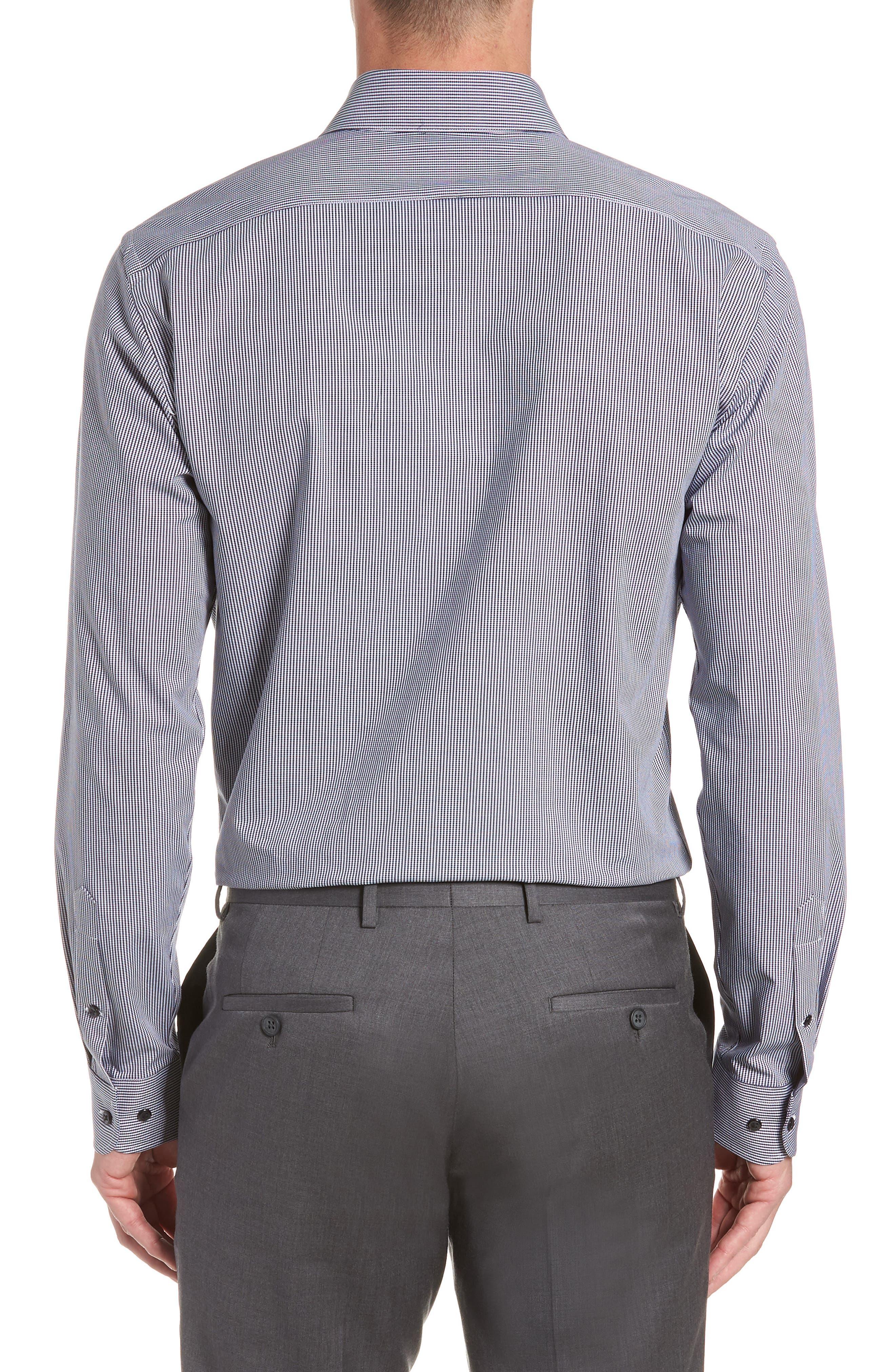 Tech-Smart Trim Fit Houndstooth Dress Shirt,                             Alternate thumbnail 5, color,