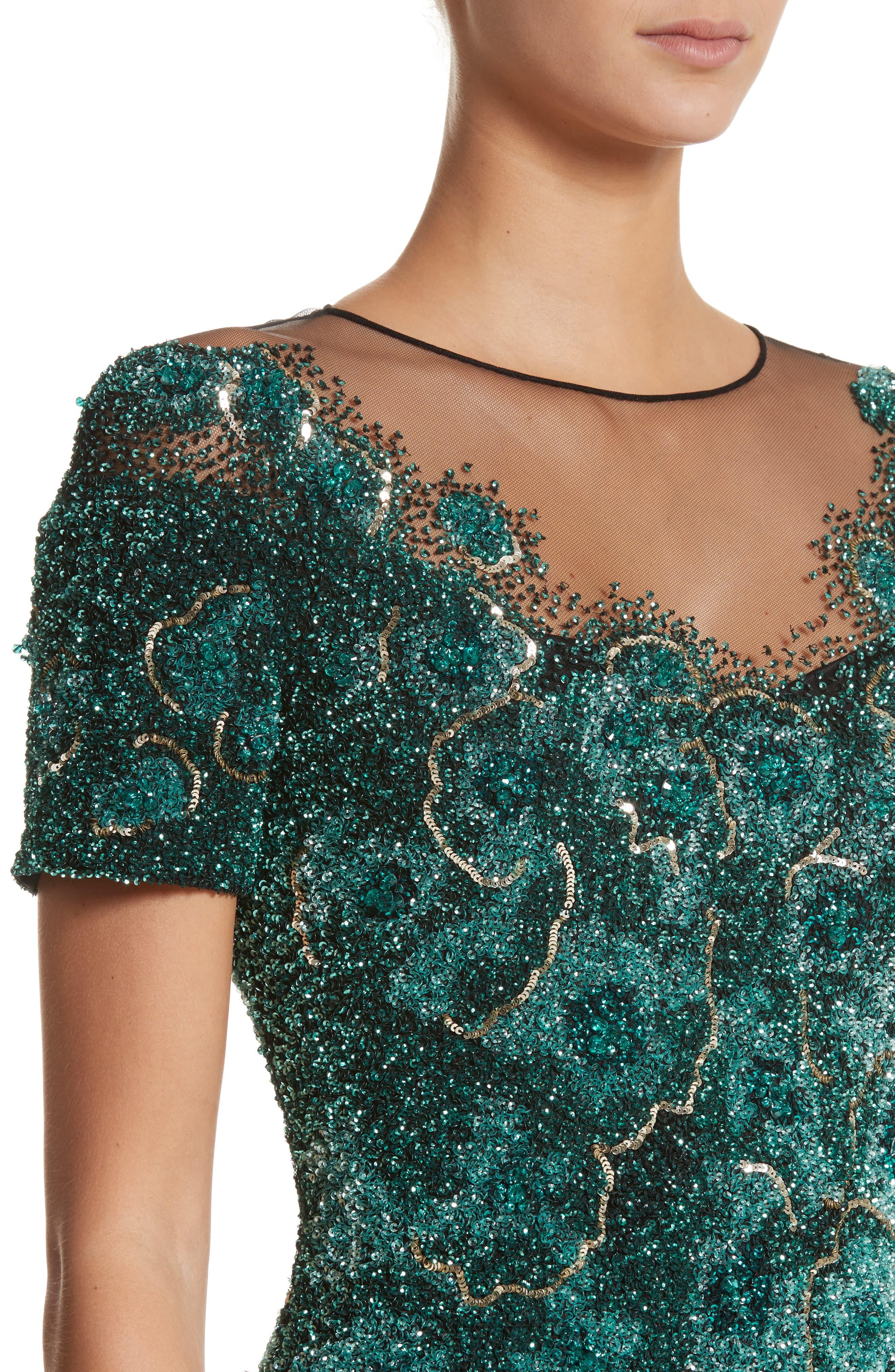 Floral Sequin Column Gown,                             Alternate thumbnail 4, color,