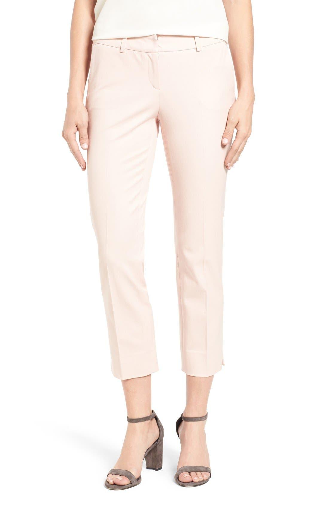 Crop Stretch Cotton Pants,                             Alternate thumbnail 106, color,