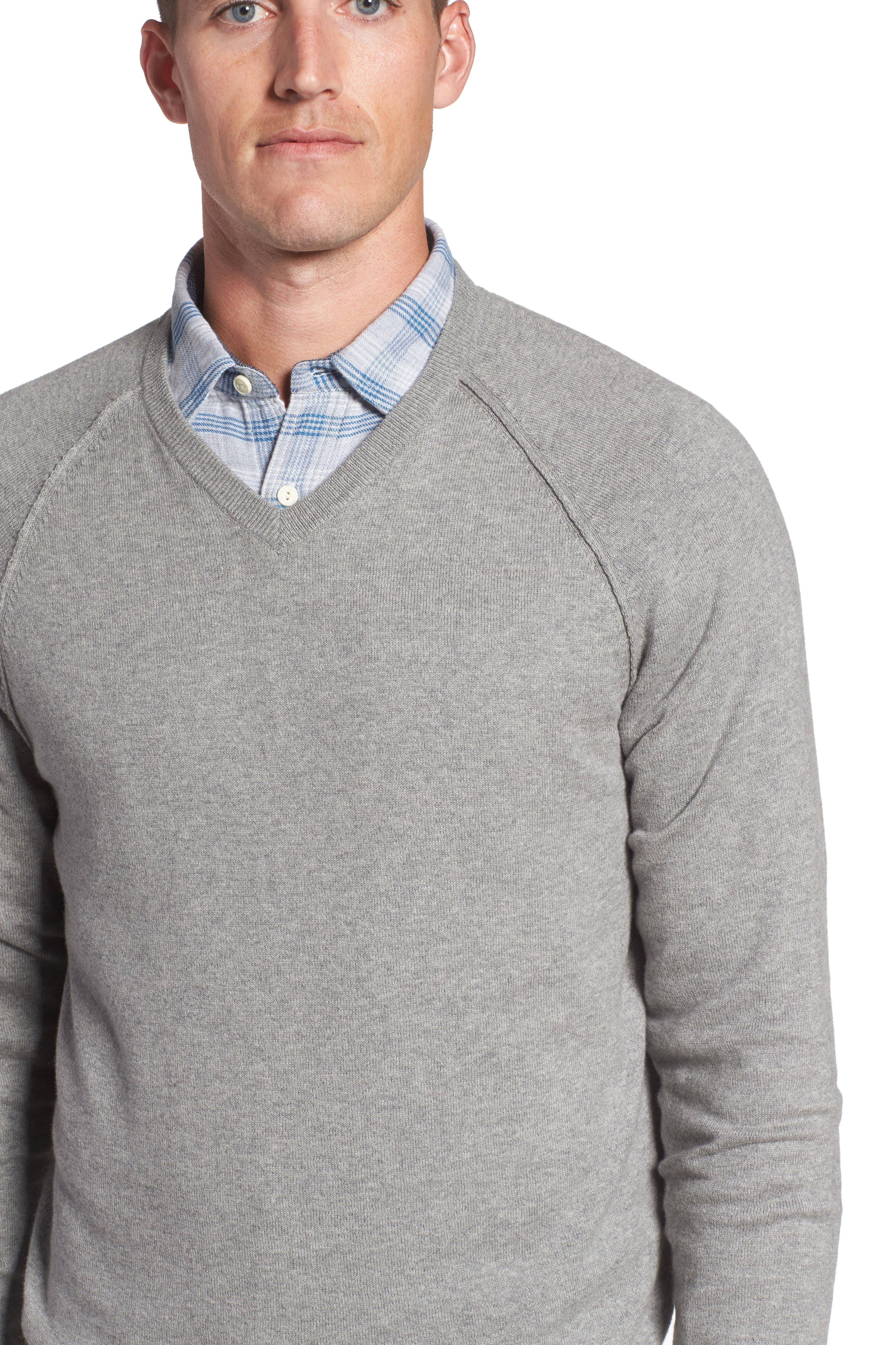 Saddle Shoulder Cotton & Cashmere V-Neck Sweater,                             Alternate thumbnail 28, color,