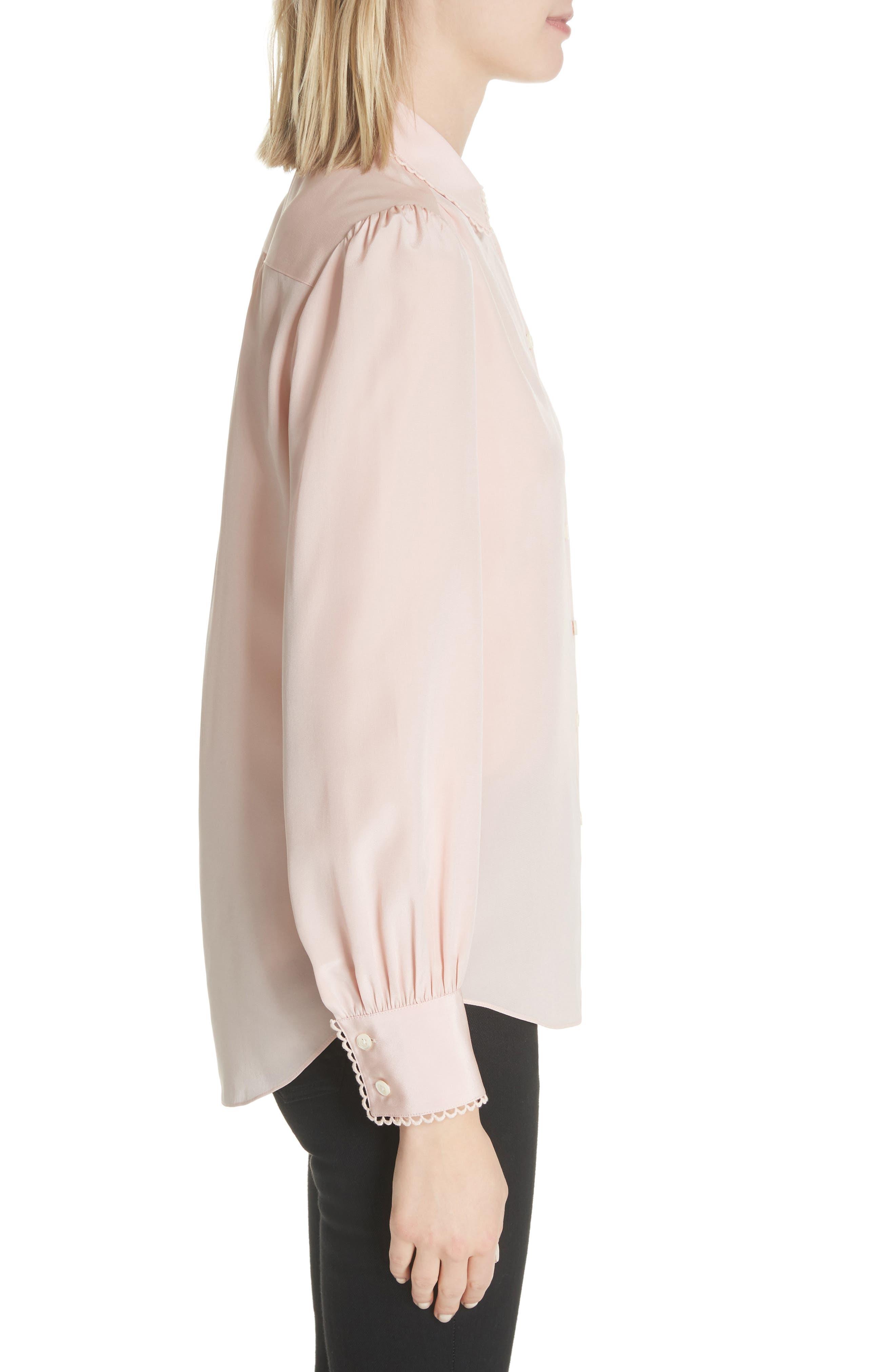 KATE SPADE NEW YORK,                             scallop trim silk shirt,                             Alternate thumbnail 3, color,                             663