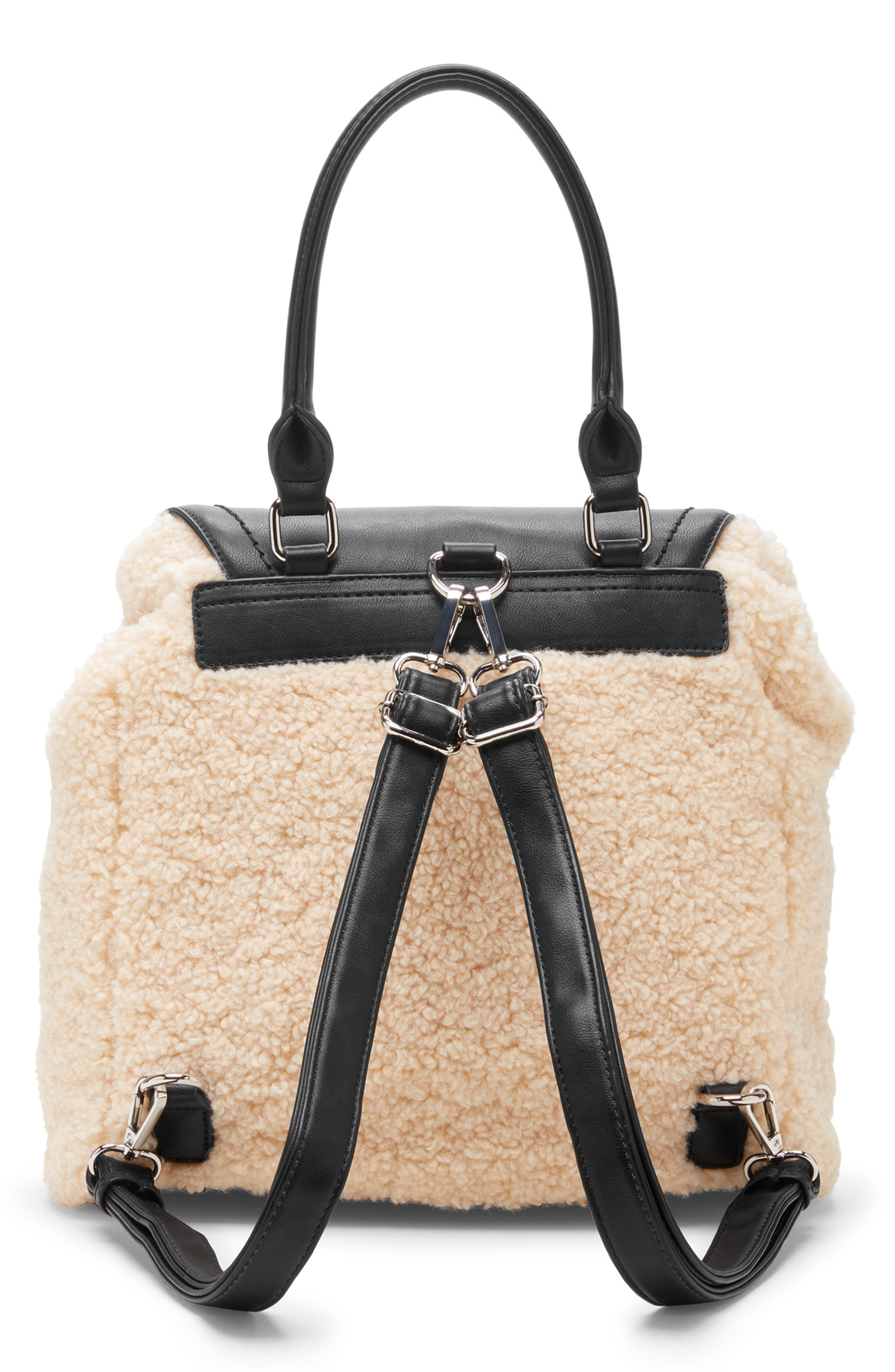 Drury Faux Shearling & Faux Leather Backpack,                             Alternate thumbnail 2, color,                             BLACK COMBO