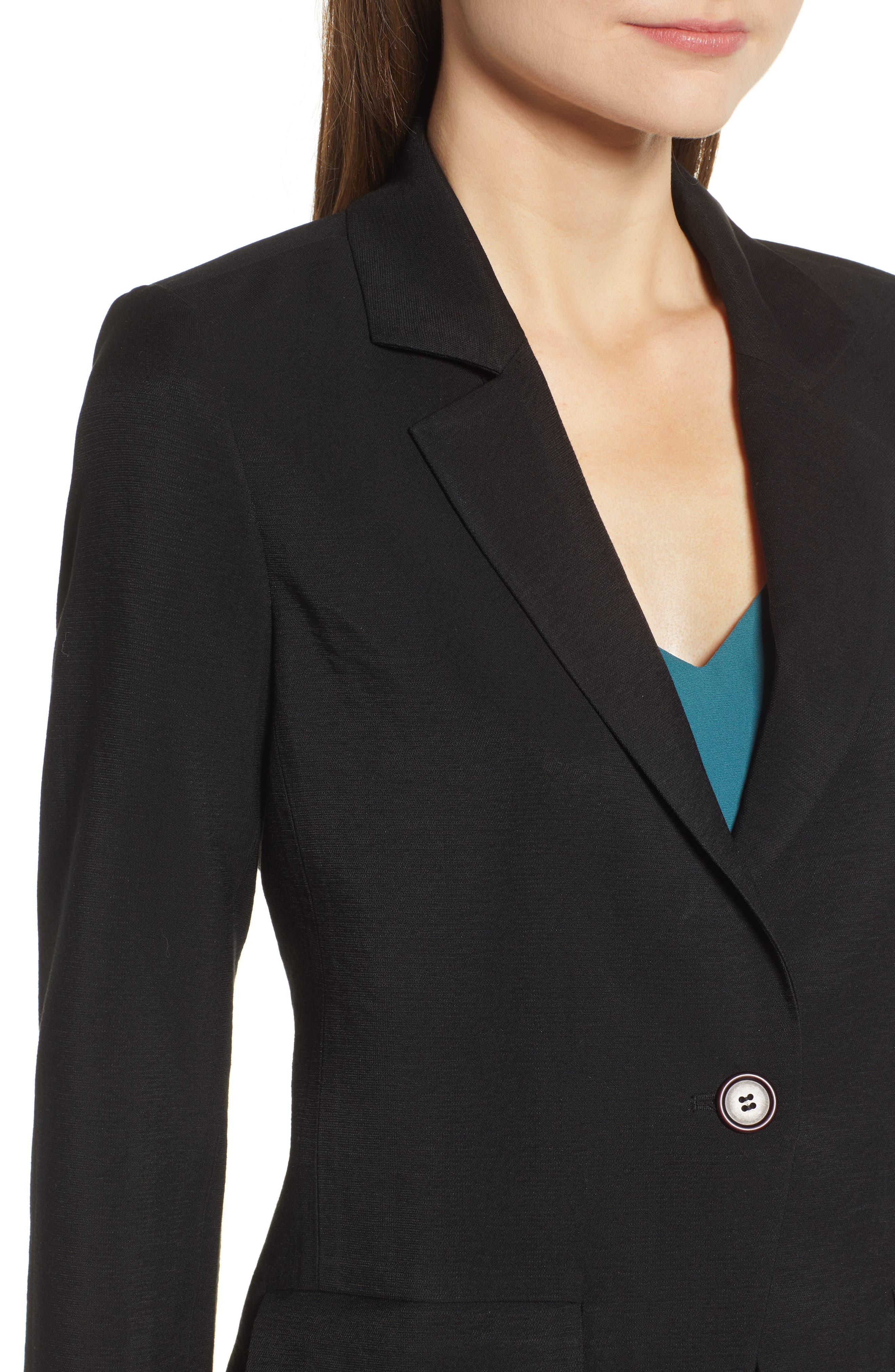 Single Button Blazer,                             Alternate thumbnail 4, color,                             BLACK