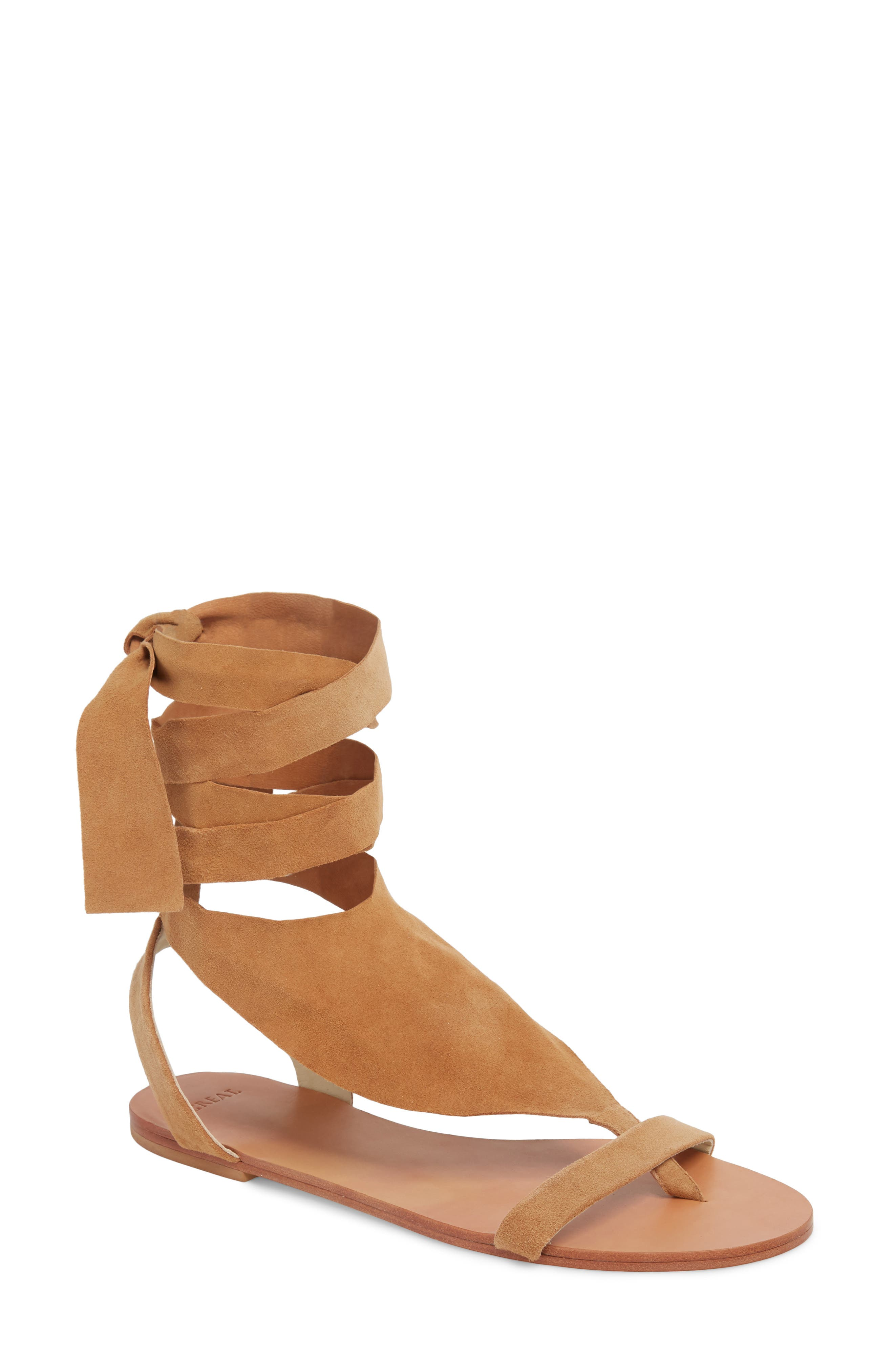 Scarf Tie Sandal,                         Main,                         color, CAMEL