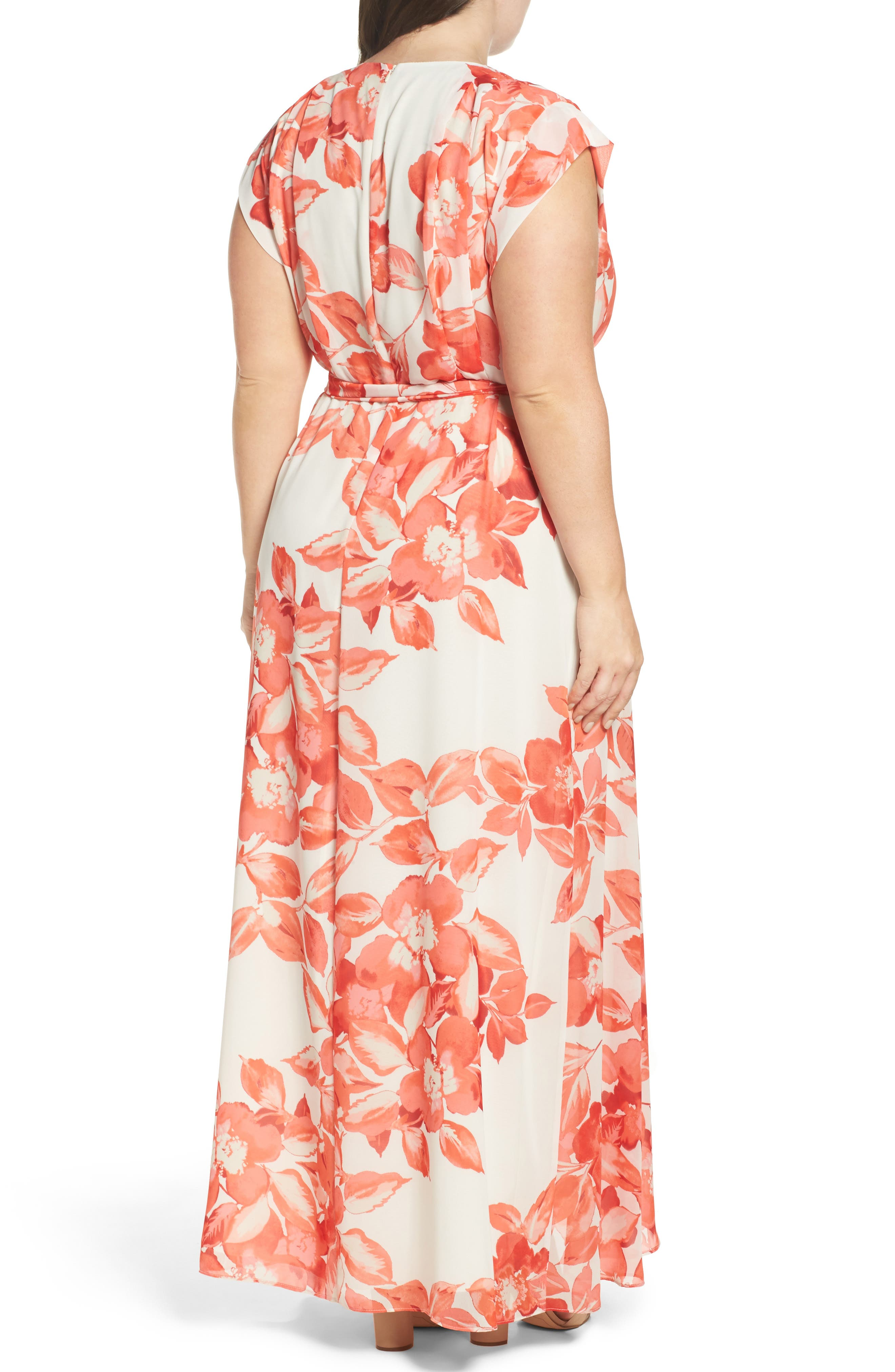 Floral Chiffon High/Low Maxi Dress,                             Alternate thumbnail 2, color,                             CORAL