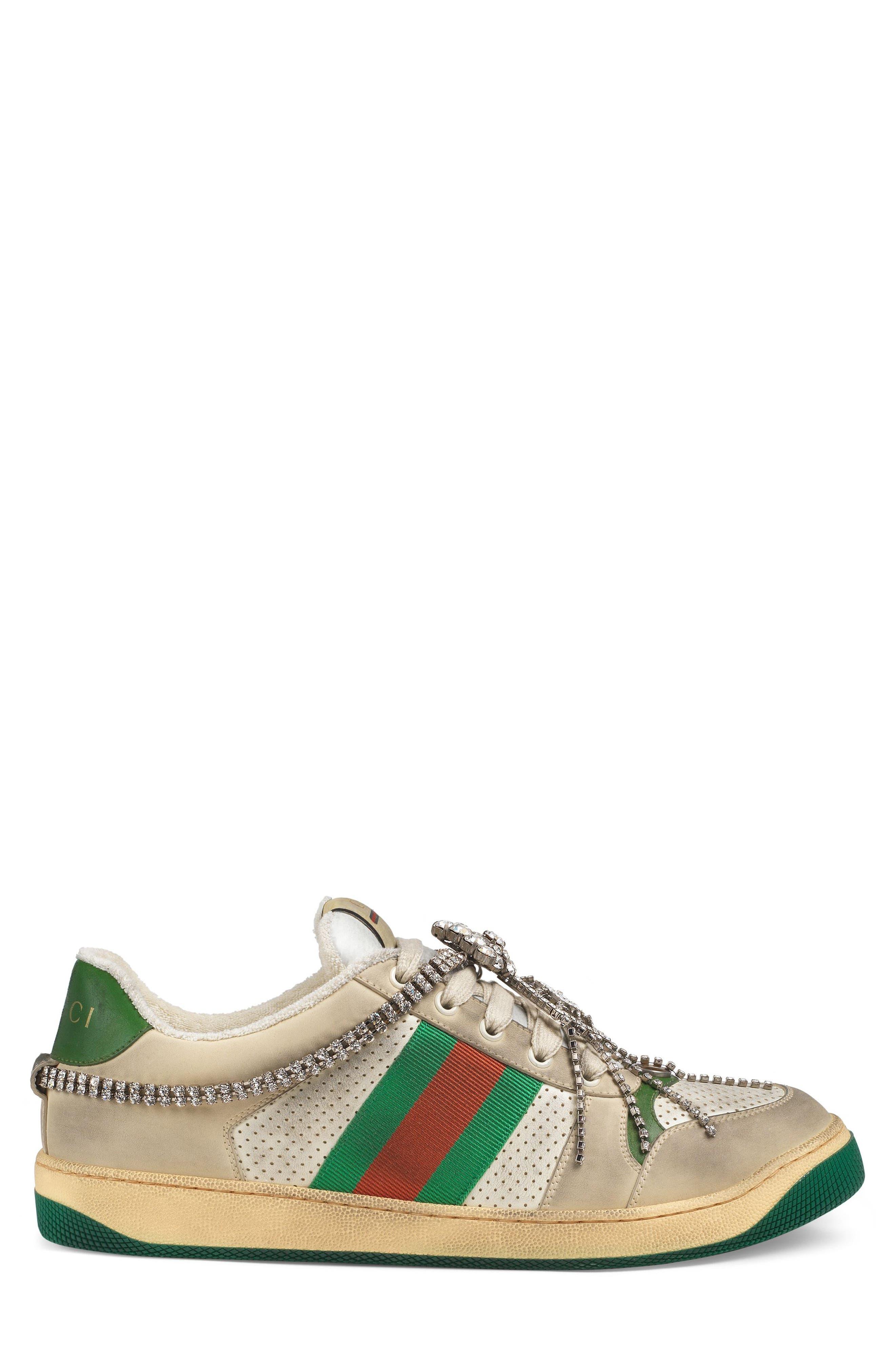 Screener Jewel Sneaker,                             Alternate thumbnail 3, color,                             BEIGE/ GREEN/ RED