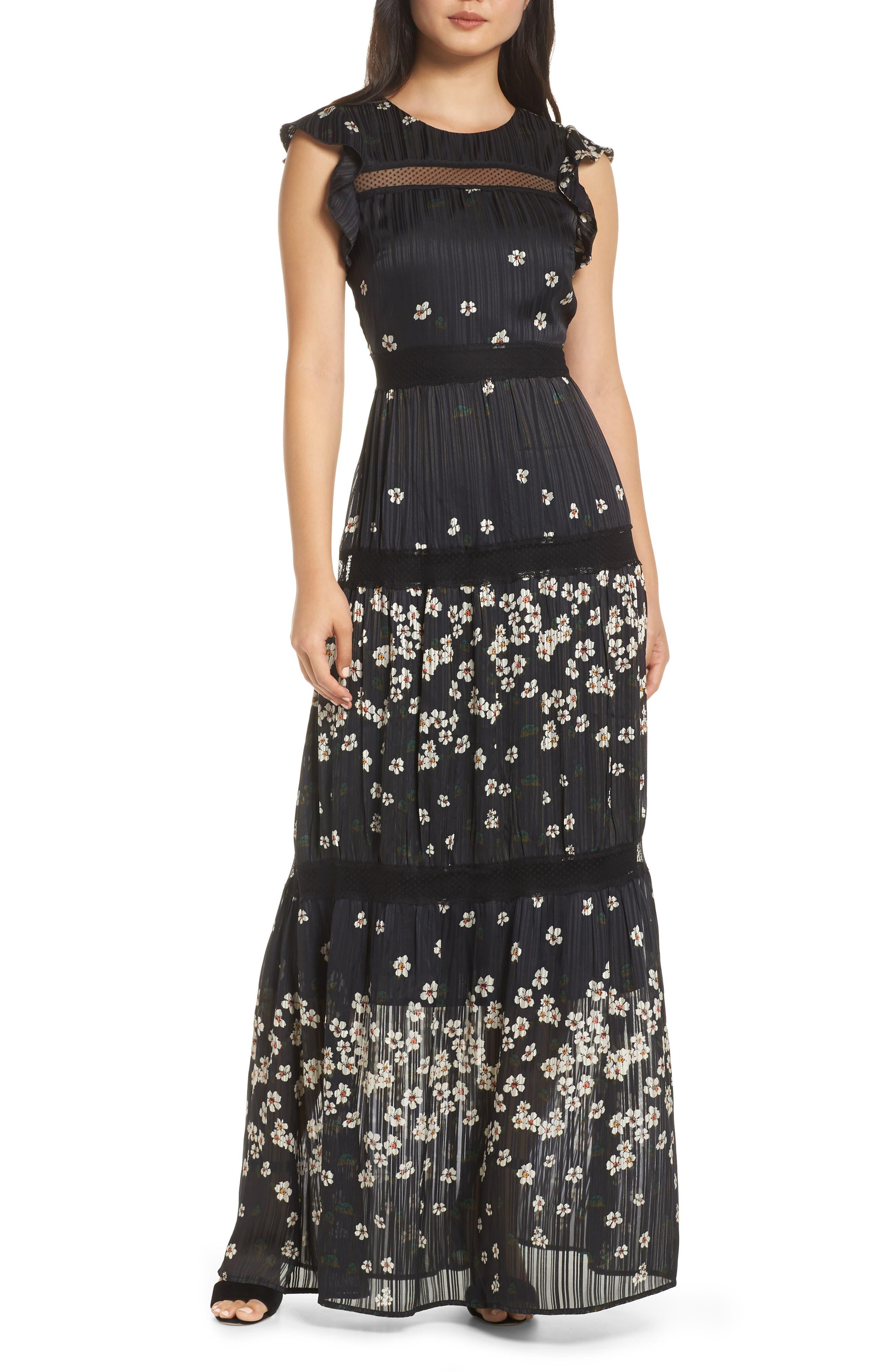 ADELYN RAE Suri Maxi Dress in Black-White