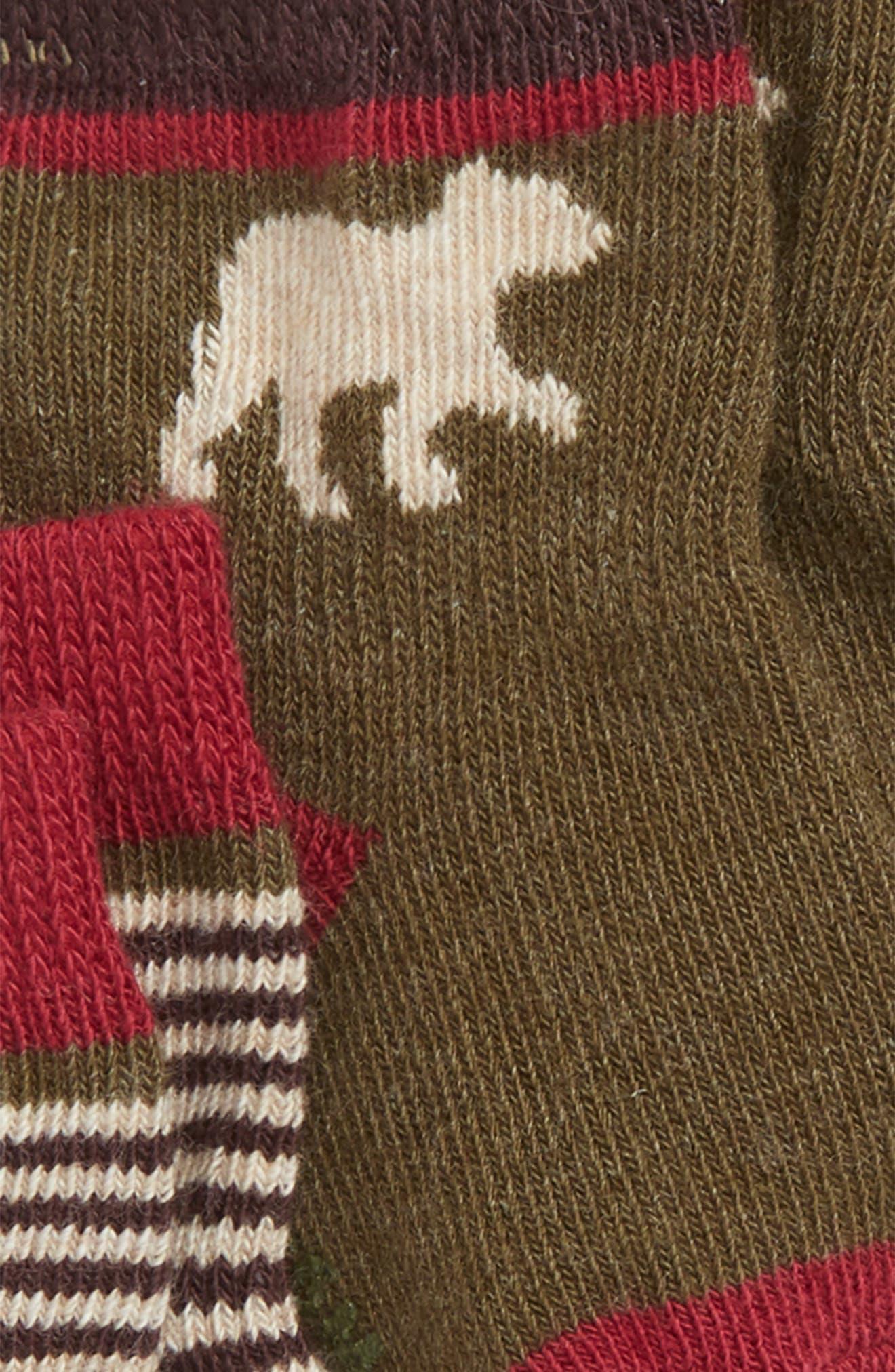Forest Dweller 3-Pack Socks,                             Alternate thumbnail 2, color,                             RED/ BROWN
