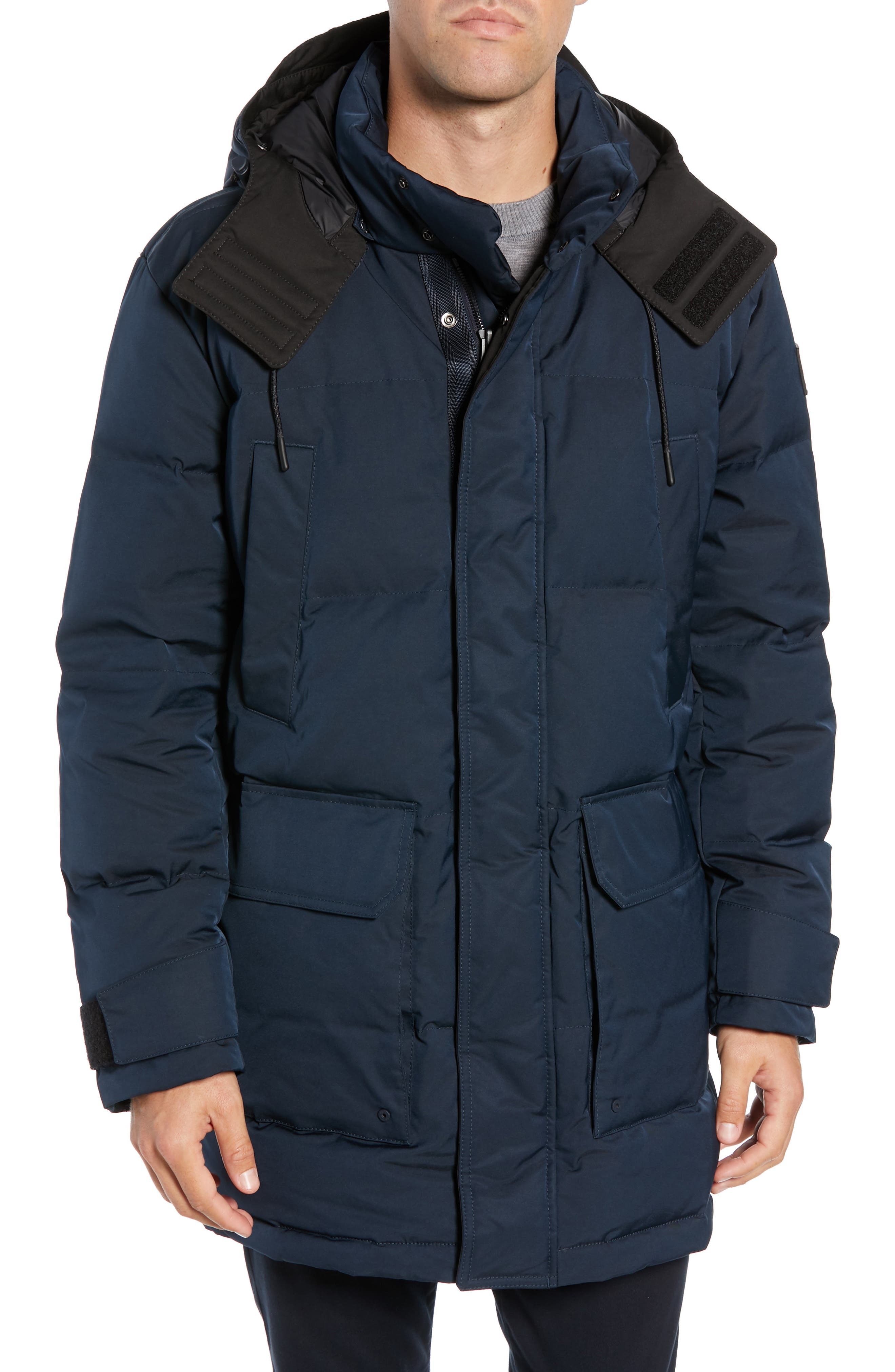 Onek Regular Fit Twill Puffer Jacket,                             Alternate thumbnail 4, color,                             BLUE
