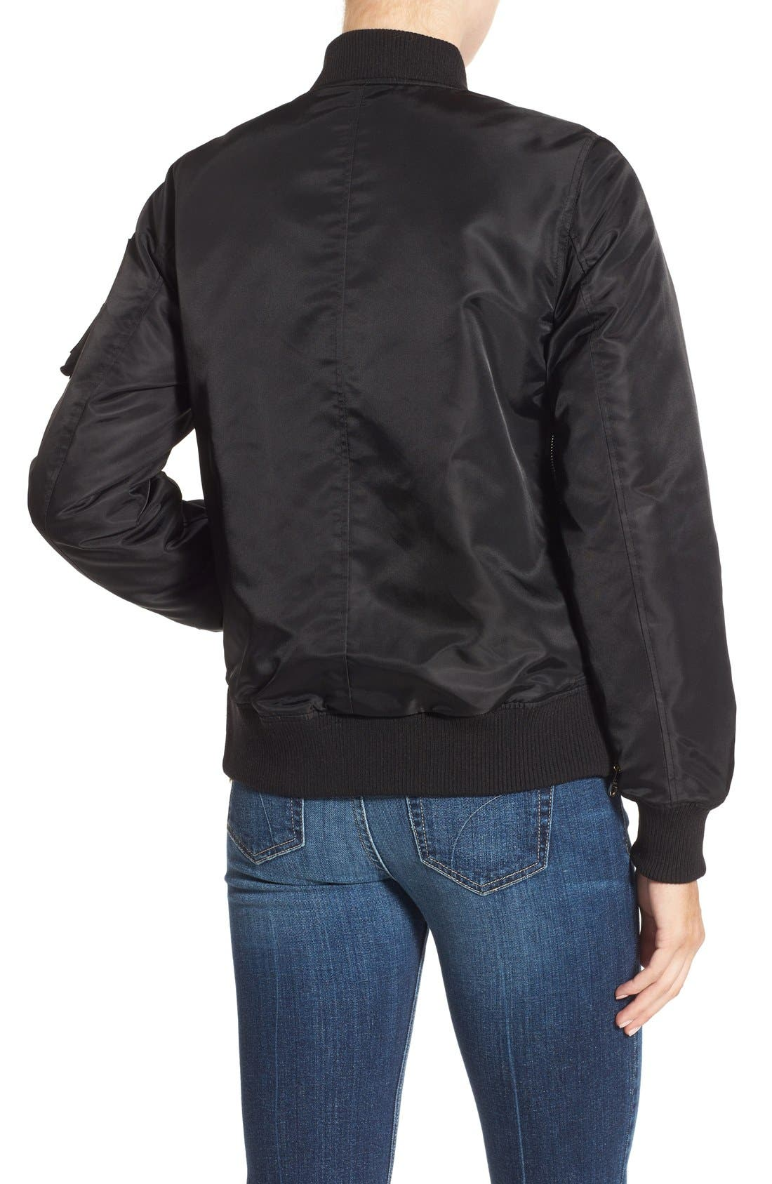 Side Zip Bomber Jacket,                             Alternate thumbnail 2, color,                             001