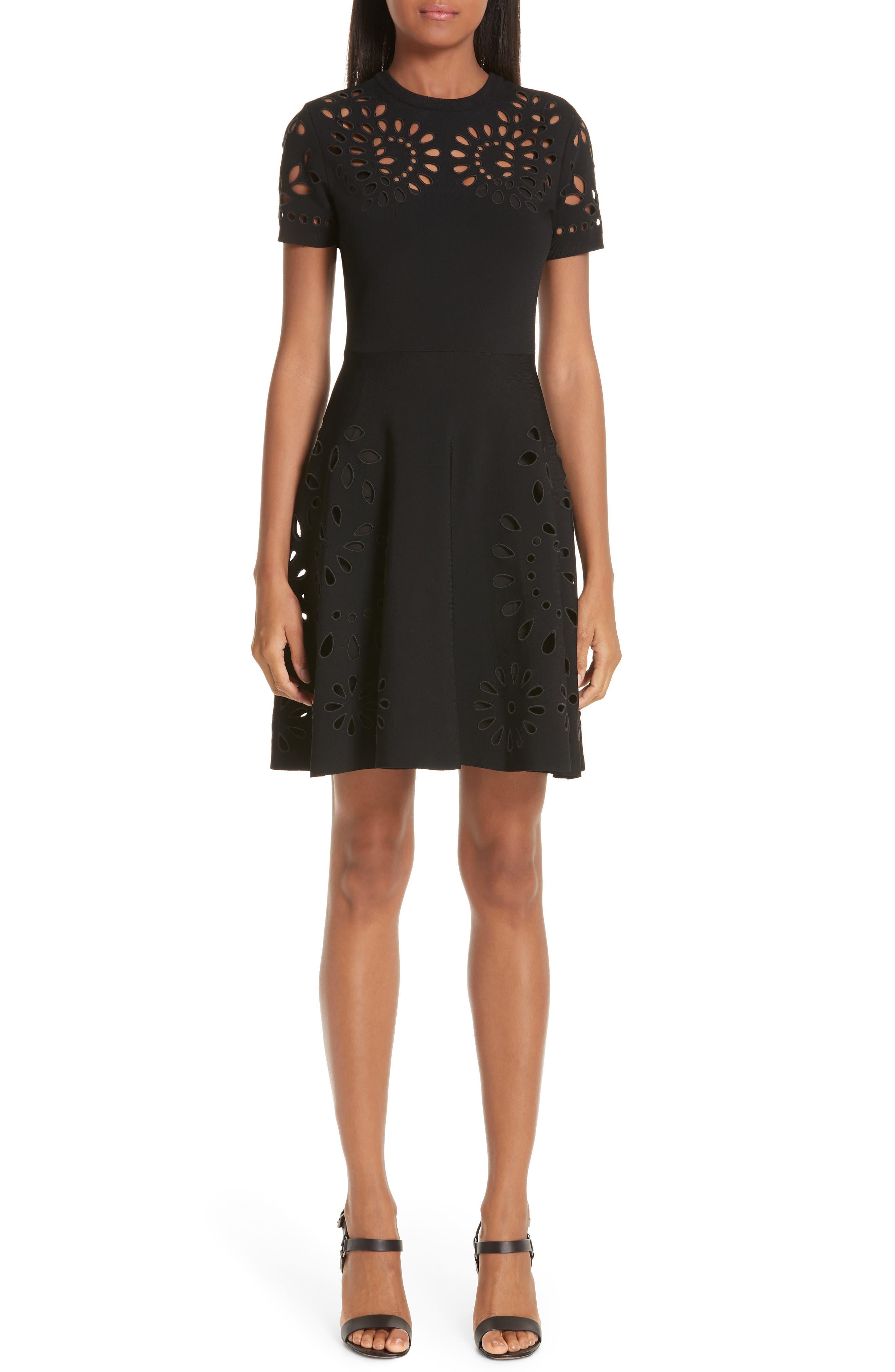 Valentino Eyelet Detail Knit Dress, Black