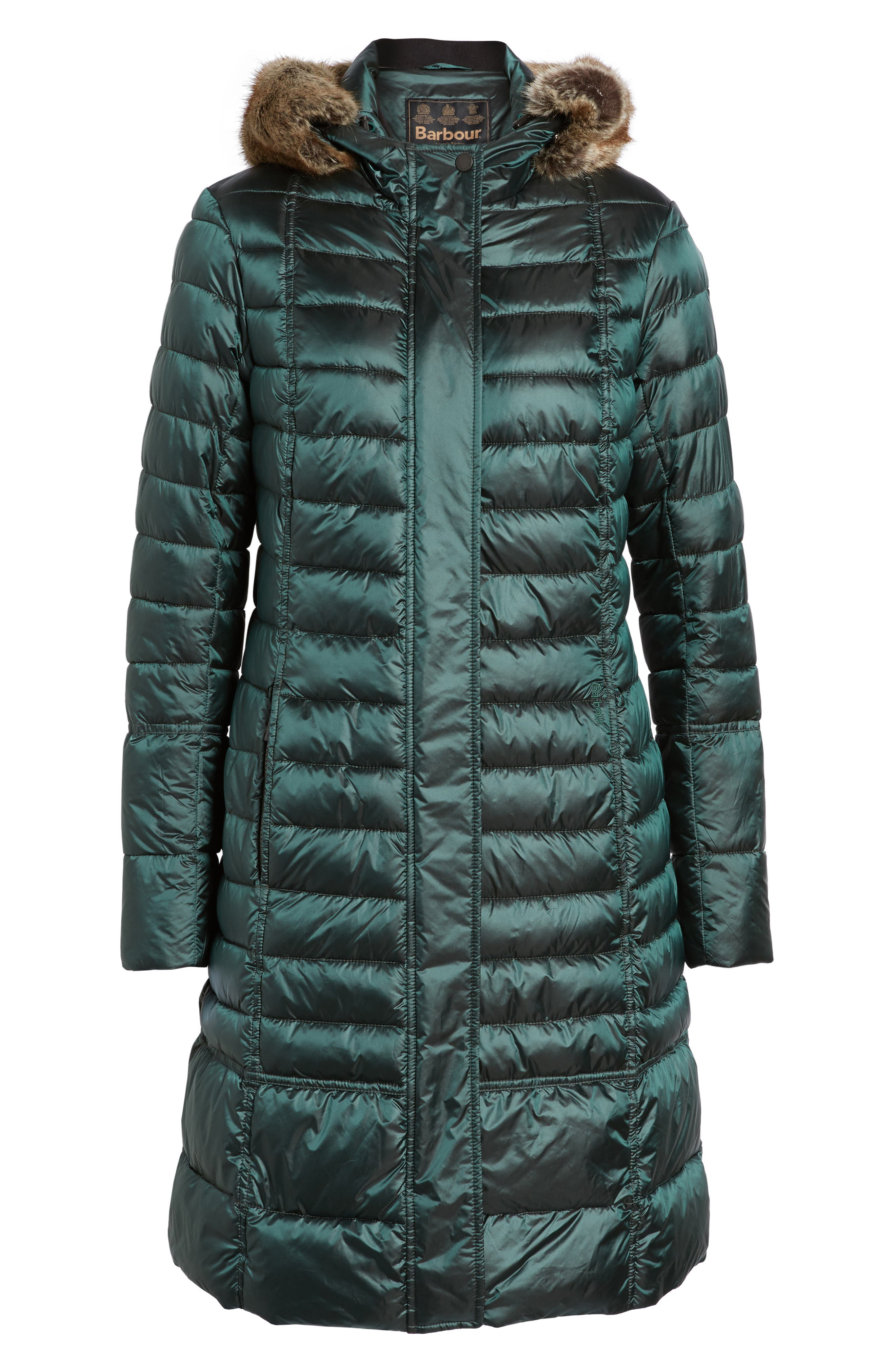 Fortrose Hooded Quilted Coat with Faux Fur Trim,                             Alternate thumbnail 10, color,