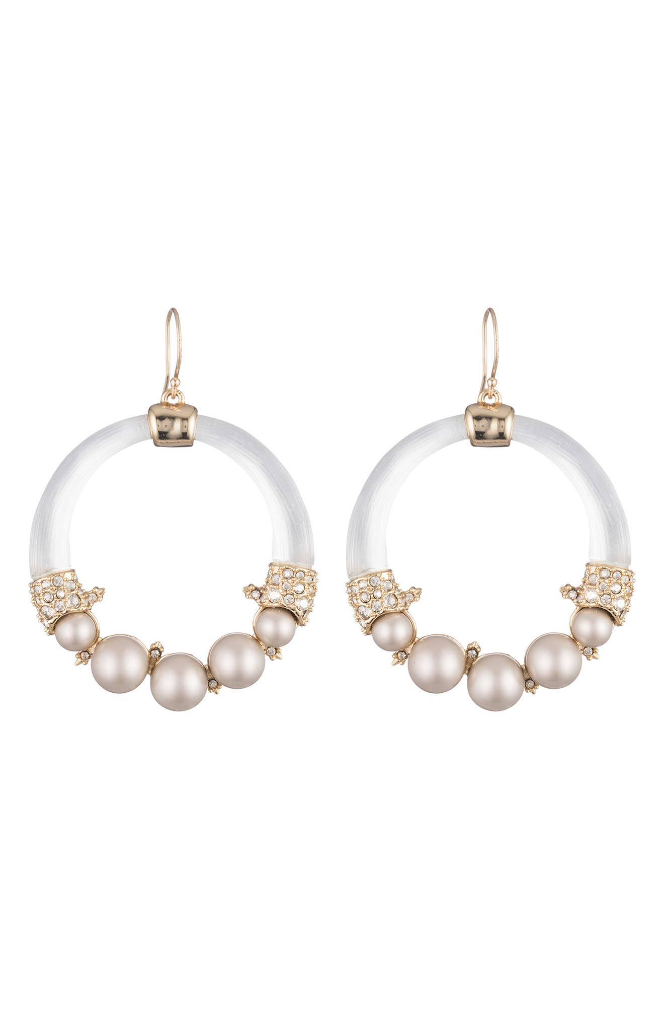 Shell Pearl Hoop Earrings,                         Main,                         color, 040