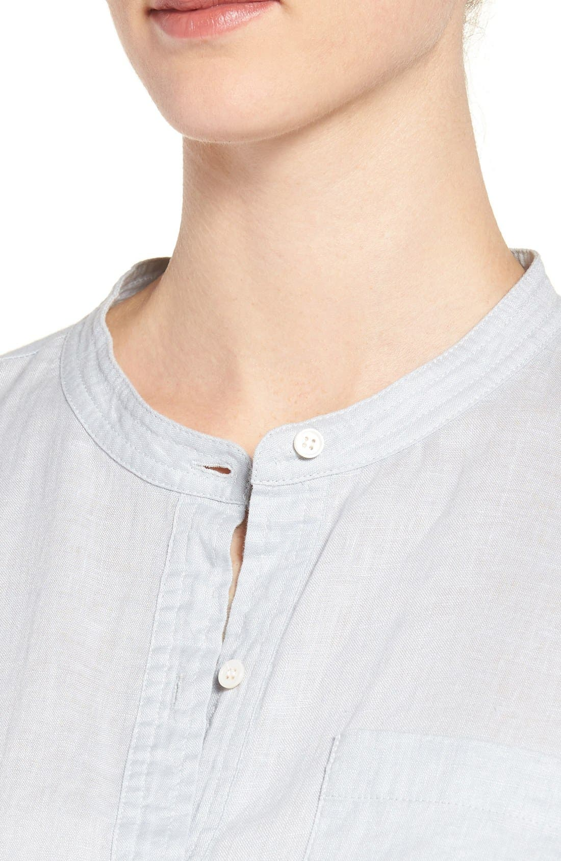 Two by Vince Camuto Collarless Linen Shirt,                             Alternate thumbnail 3, color,                             026