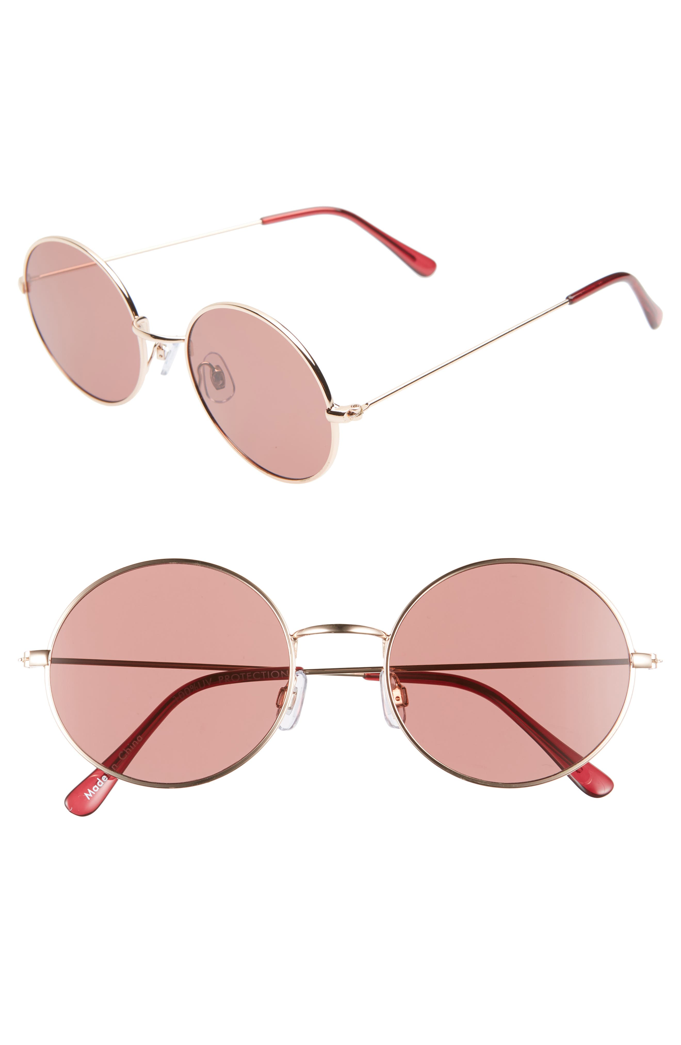 53mm Flat Round Sunglasses,                         Main,                         color, GOLD/ BROWN