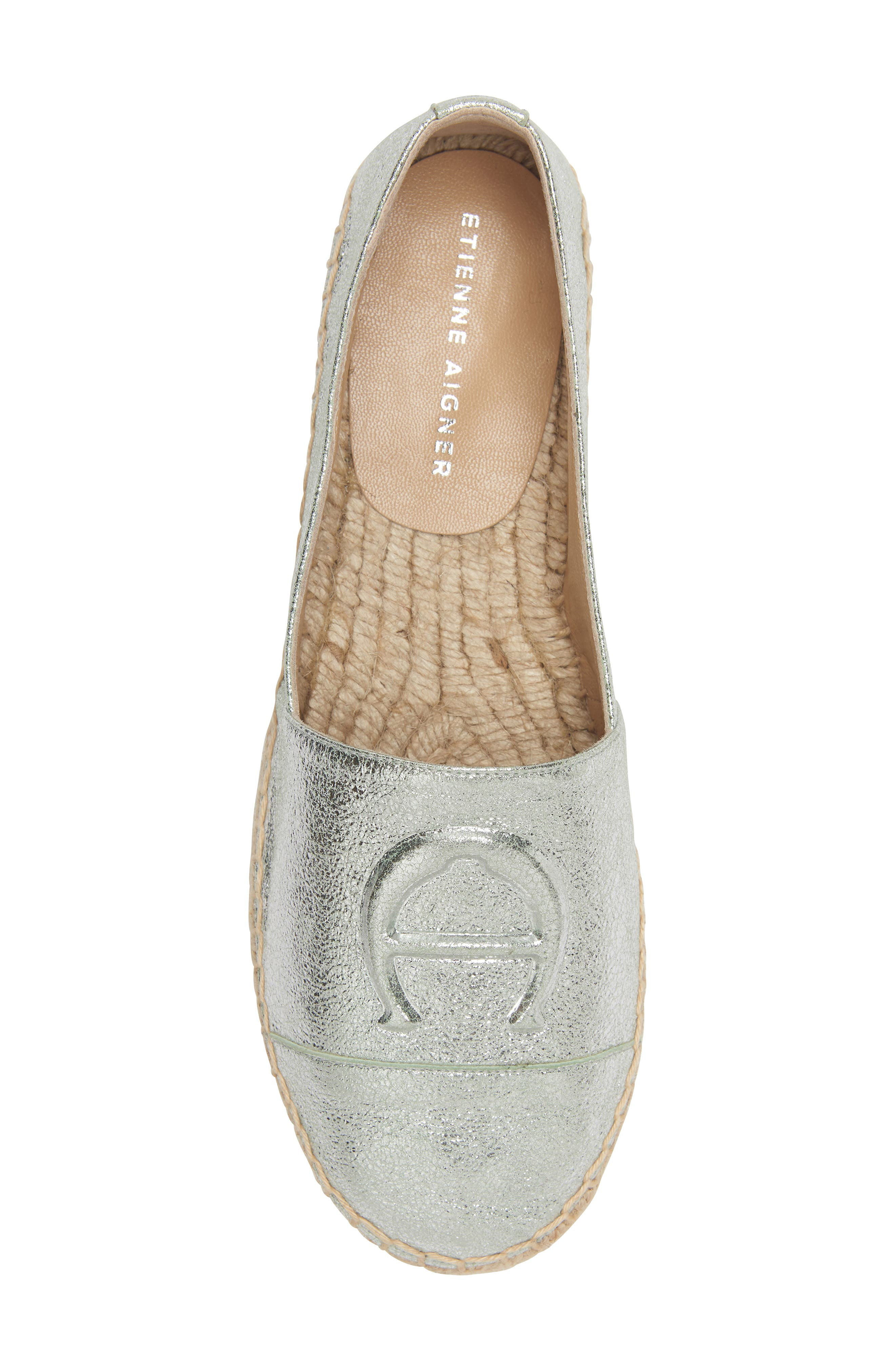 Wade Platform Espadrille,                             Alternate thumbnail 3, color,                             SILVER LEATHER