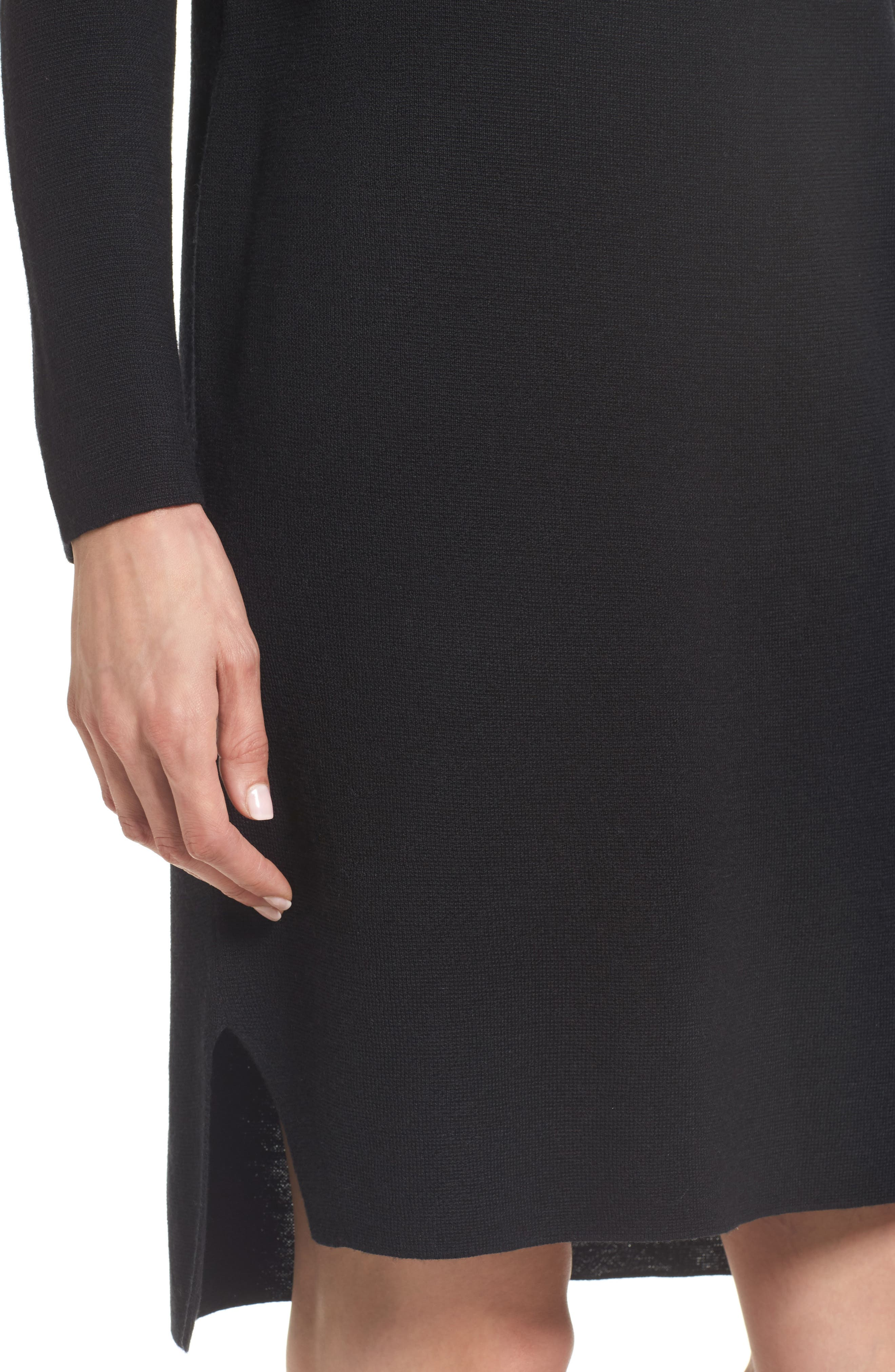 Merino Wool Sweater Dress,                             Alternate thumbnail 4, color,                             001