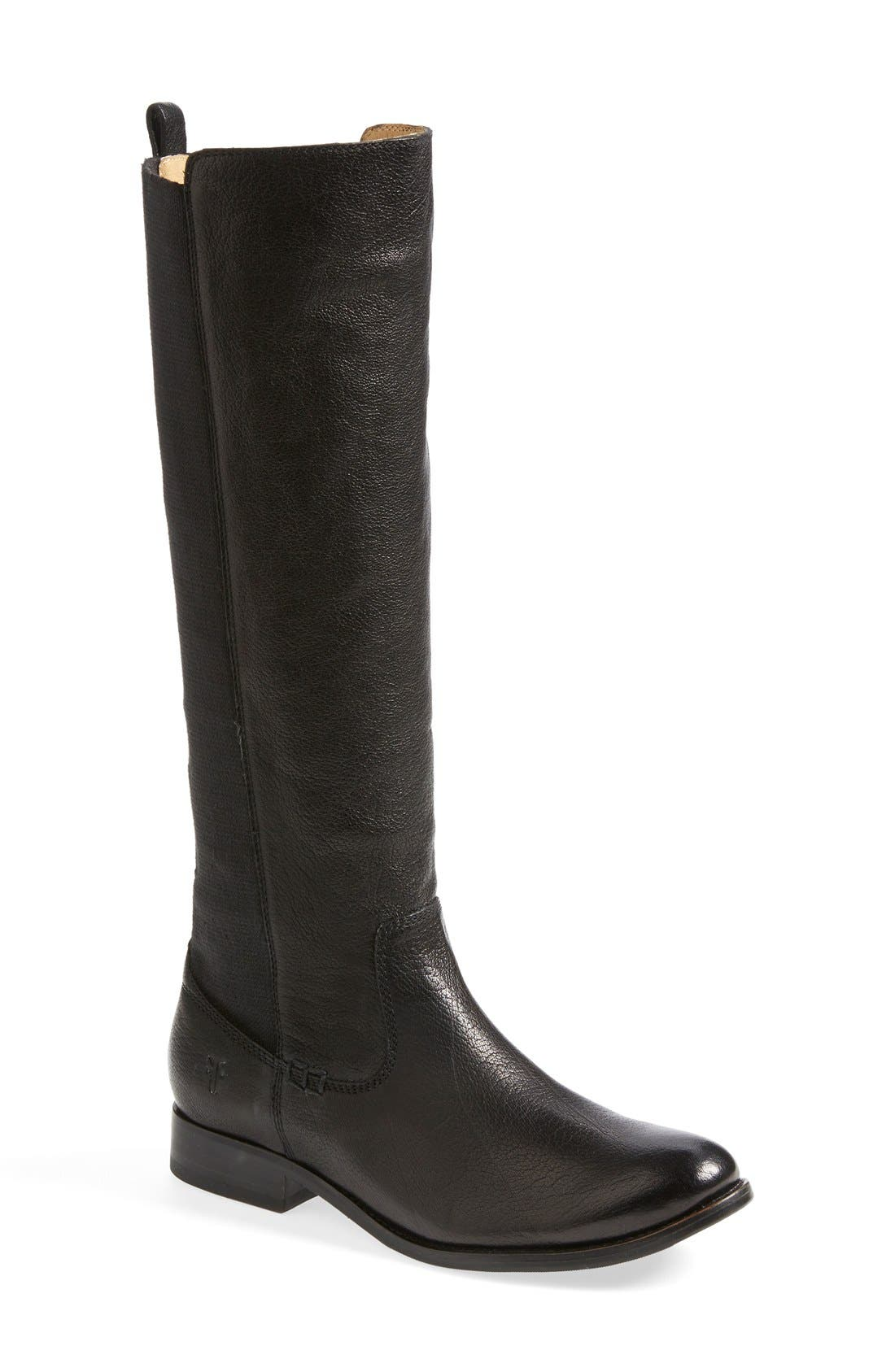 'Molly' Gore Leather Boot,                             Main thumbnail 1, color,                             001