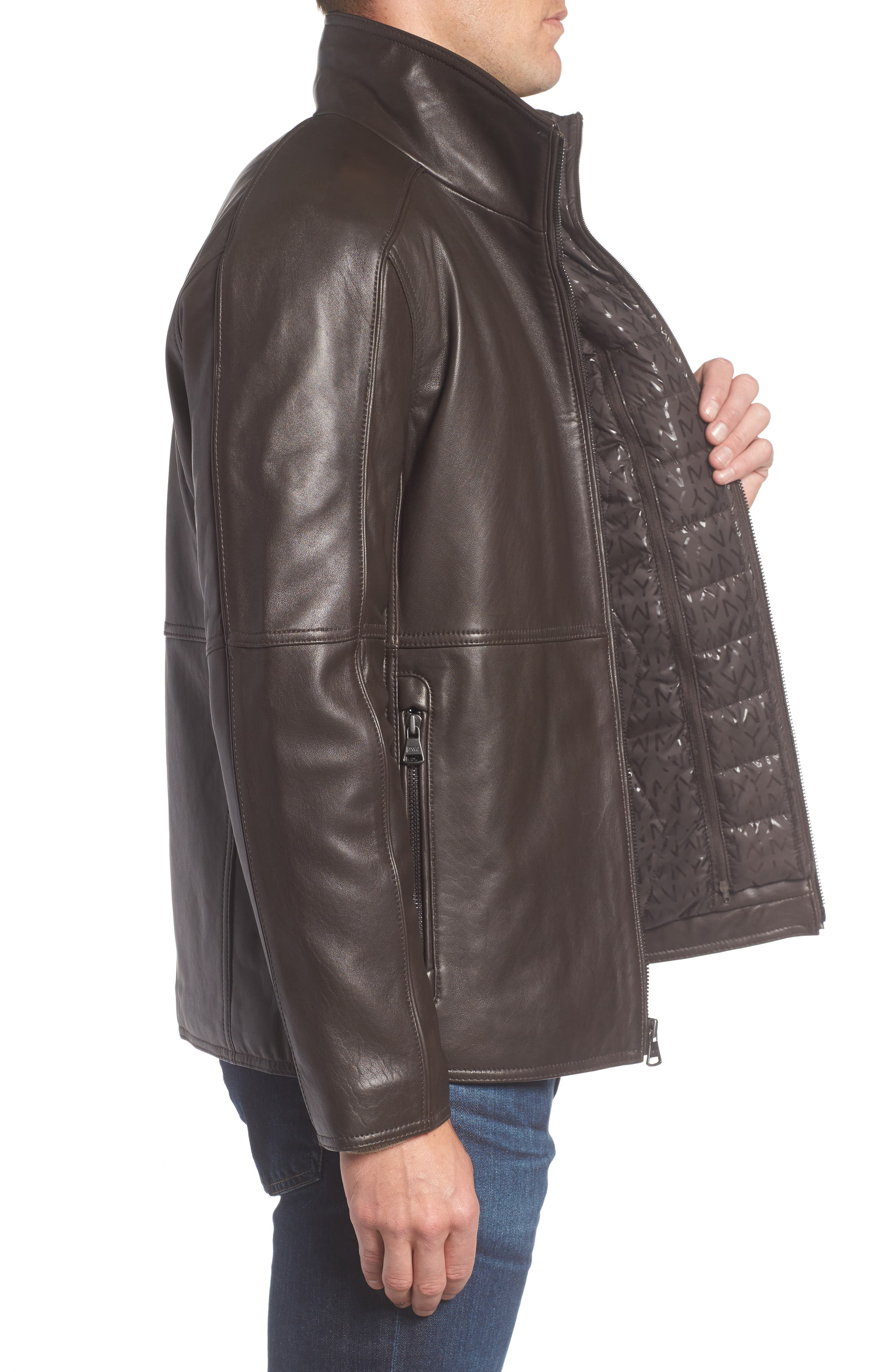 Leather Jacket with Quilted Insert,                             Alternate thumbnail 6, color,