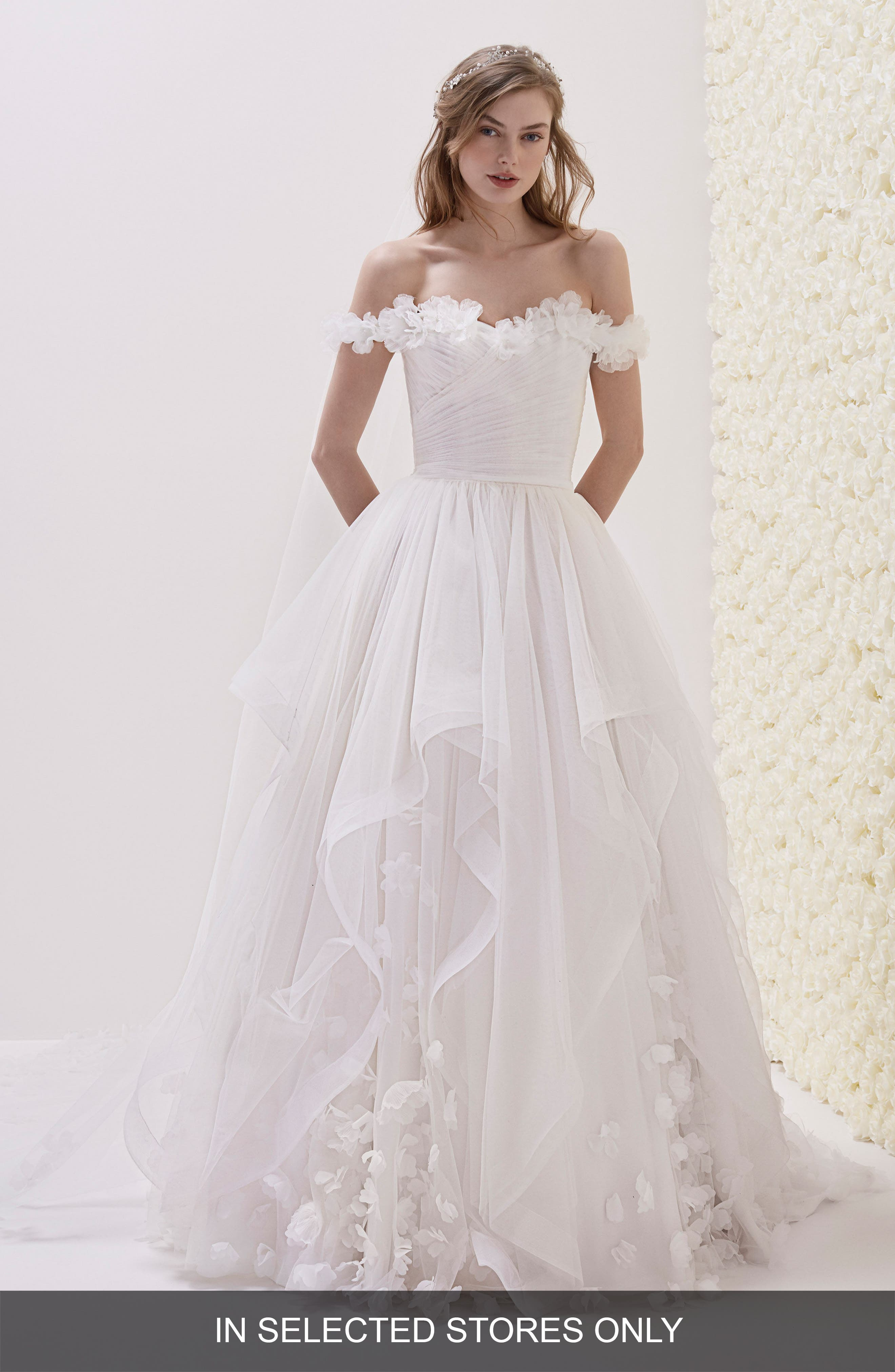 Elodia Off the Shoulder Ballgown,                             Main thumbnail 1, color,                             OFF WHITE