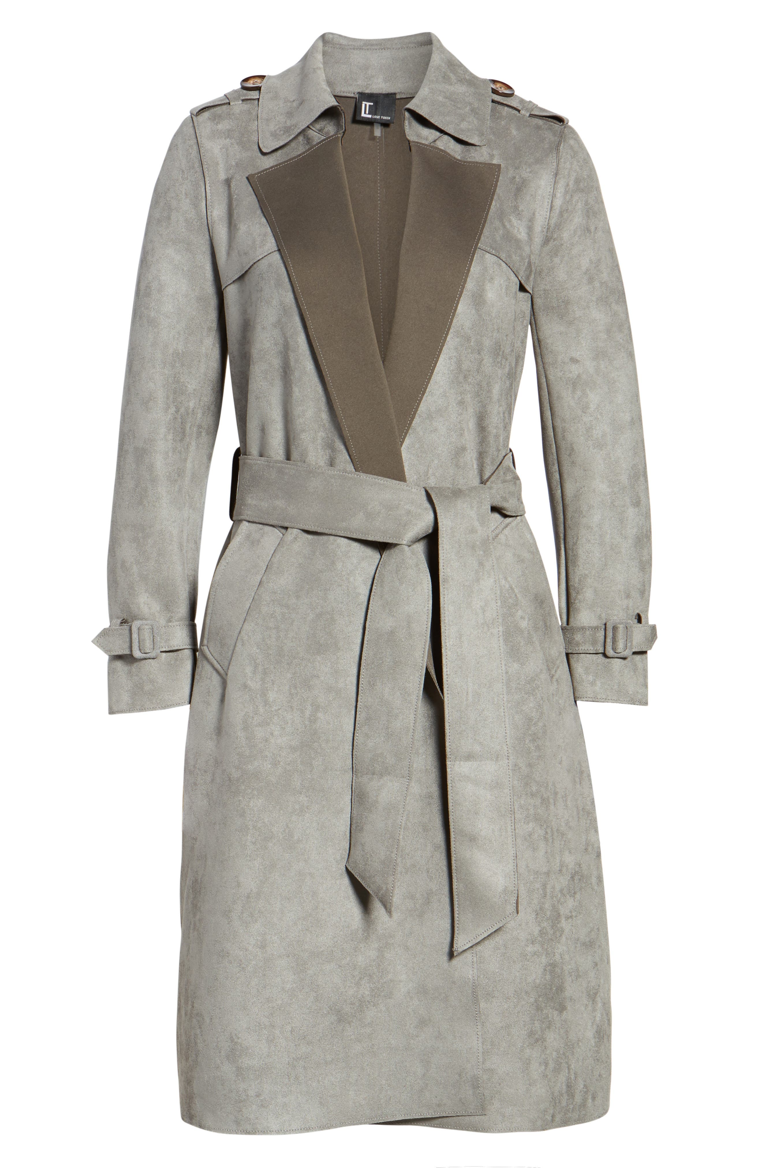 Faux Suede Long Trench Coat,                             Alternate thumbnail 5, color,                             030