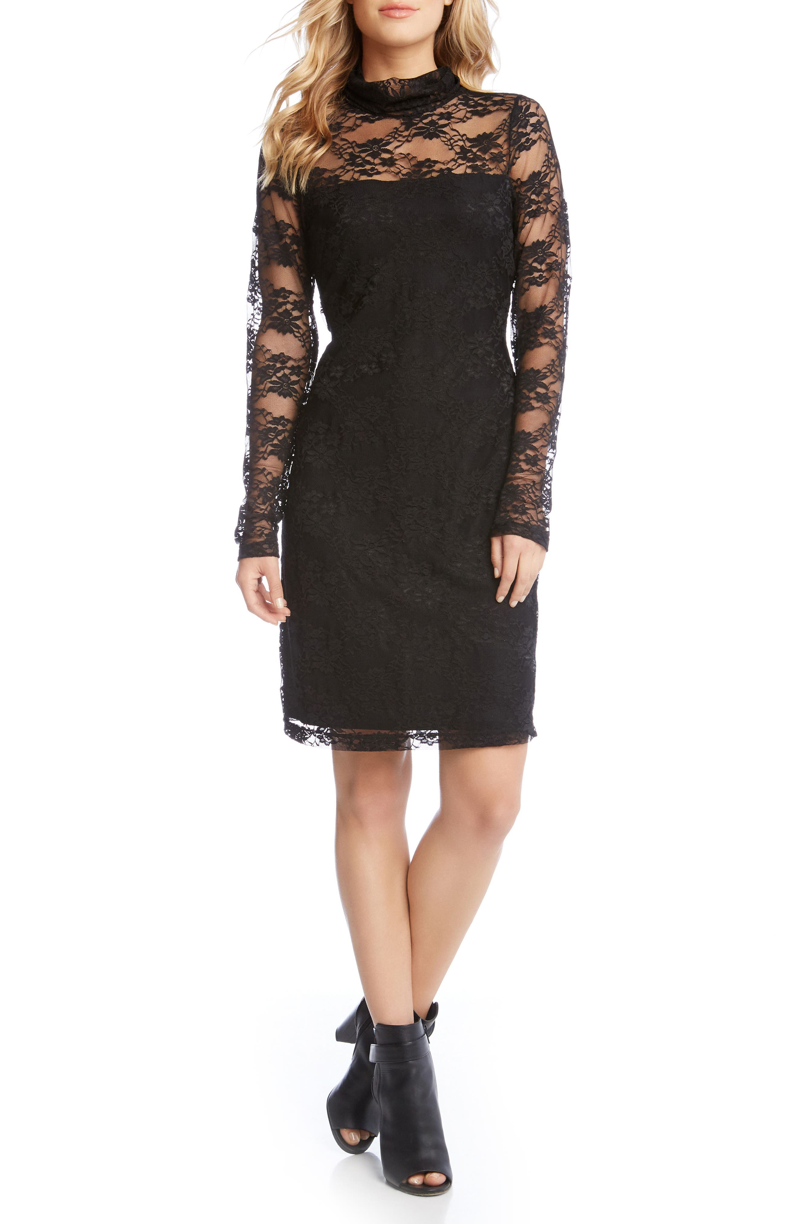 Turtleneck Lace Sheath Dress,                             Main thumbnail 1, color,                             001