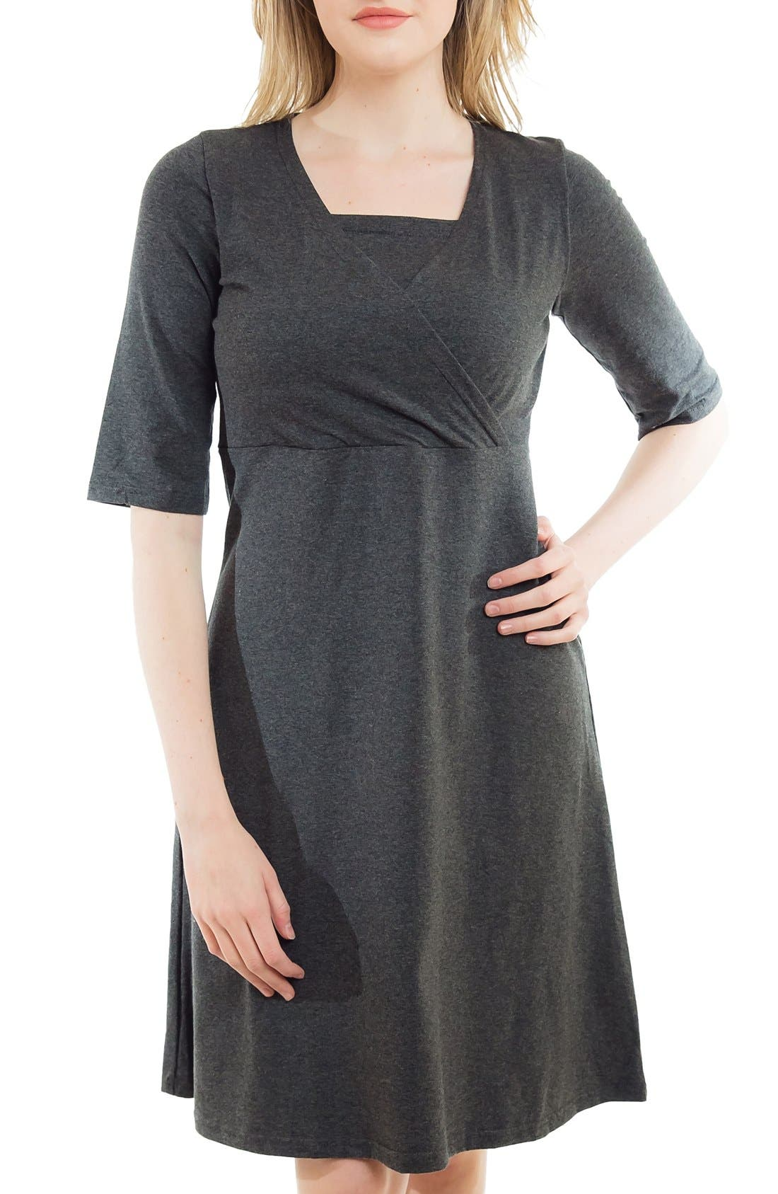 Crossover Maternity/Nursing Dress,                         Main,                         color, HEATHER CHARCOAL
