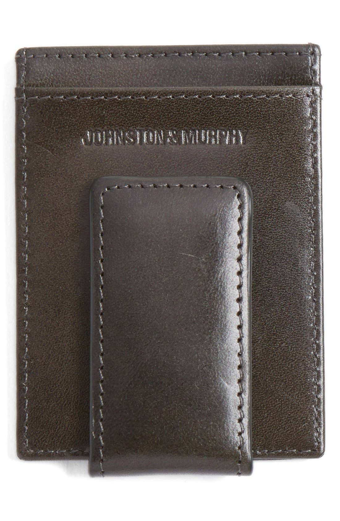 Leather Money Clip Card Case,                             Alternate thumbnail 2, color,                             CHARCOAL