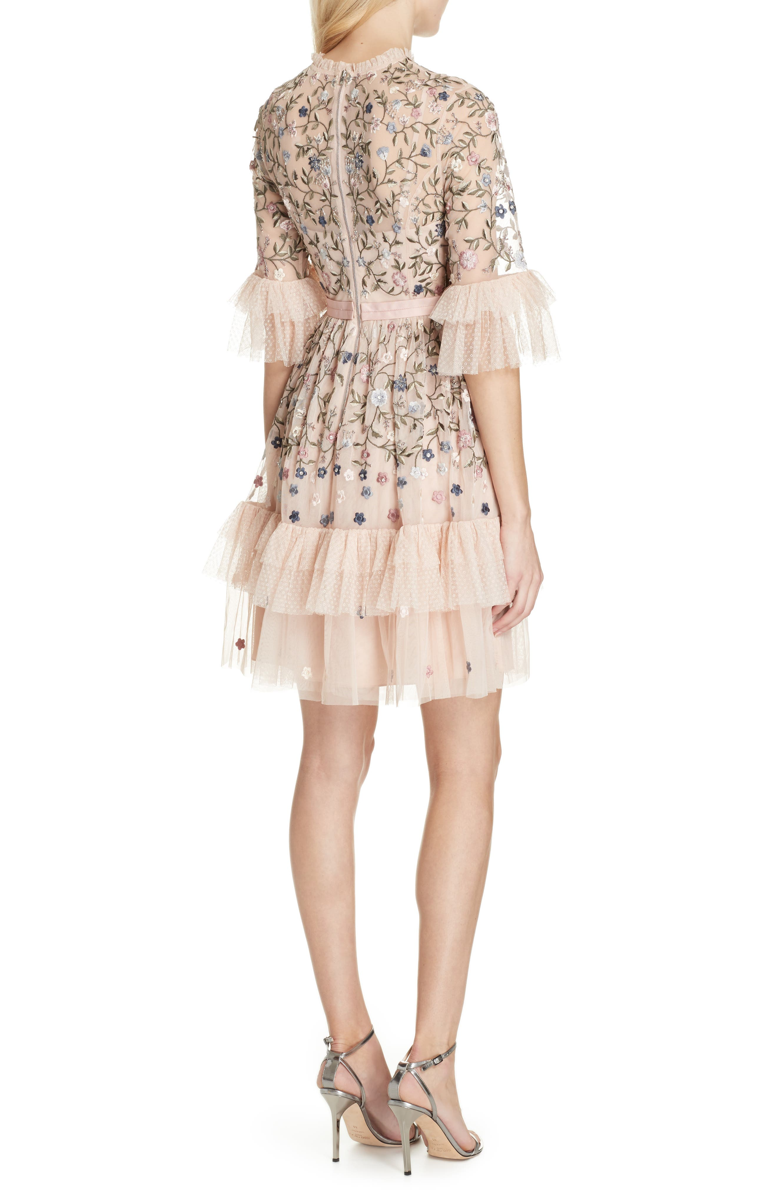 Dusk Floral A-Line Dress,                             Alternate thumbnail 2, color,                             ROSE QUARTZ