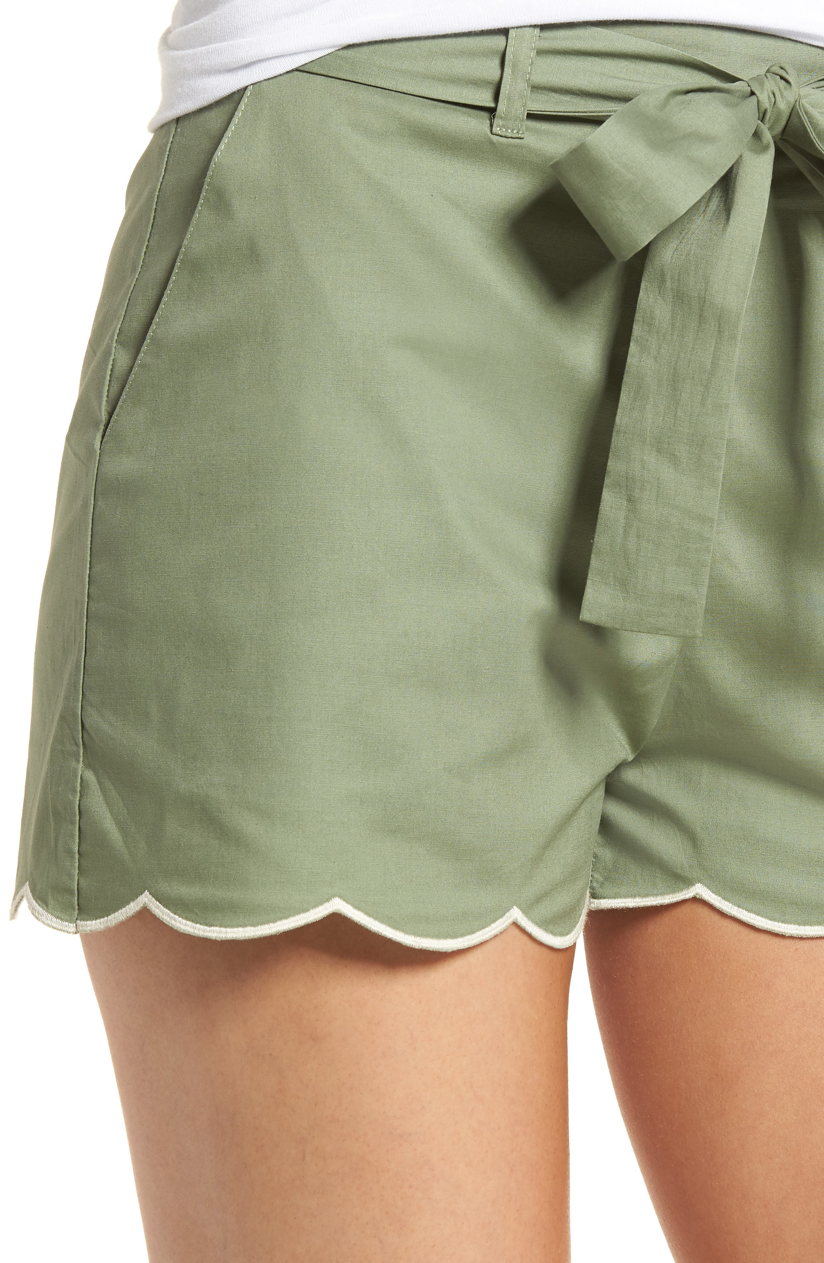 Tie Waist Scallop Hem Shorts,                             Alternate thumbnail 4, color,                             GREEN BRONZE