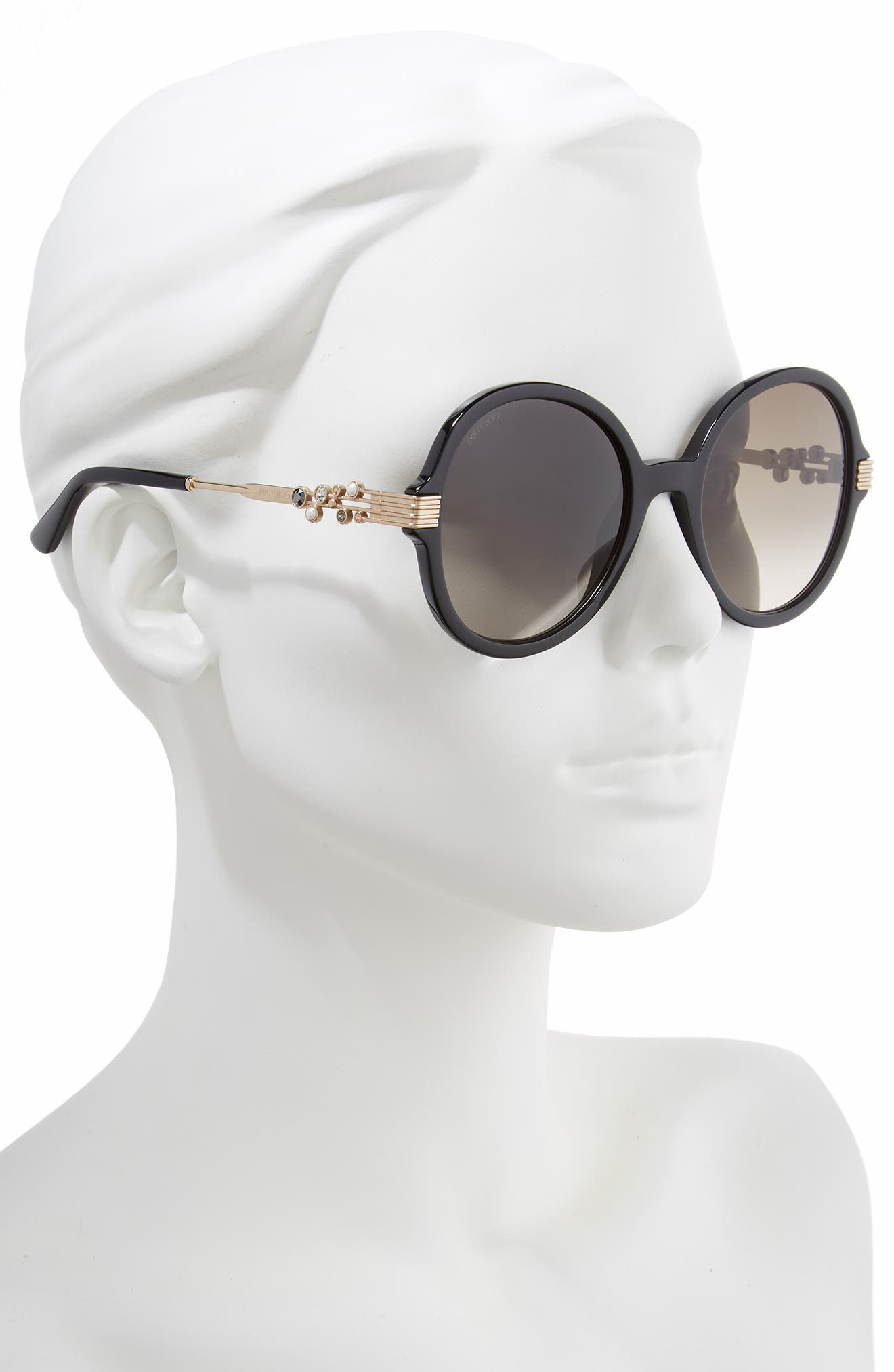 JIMMY CHOO,                             Adria 55mm Round Sunglasses,                             Alternate thumbnail 2, color,                             BLACK