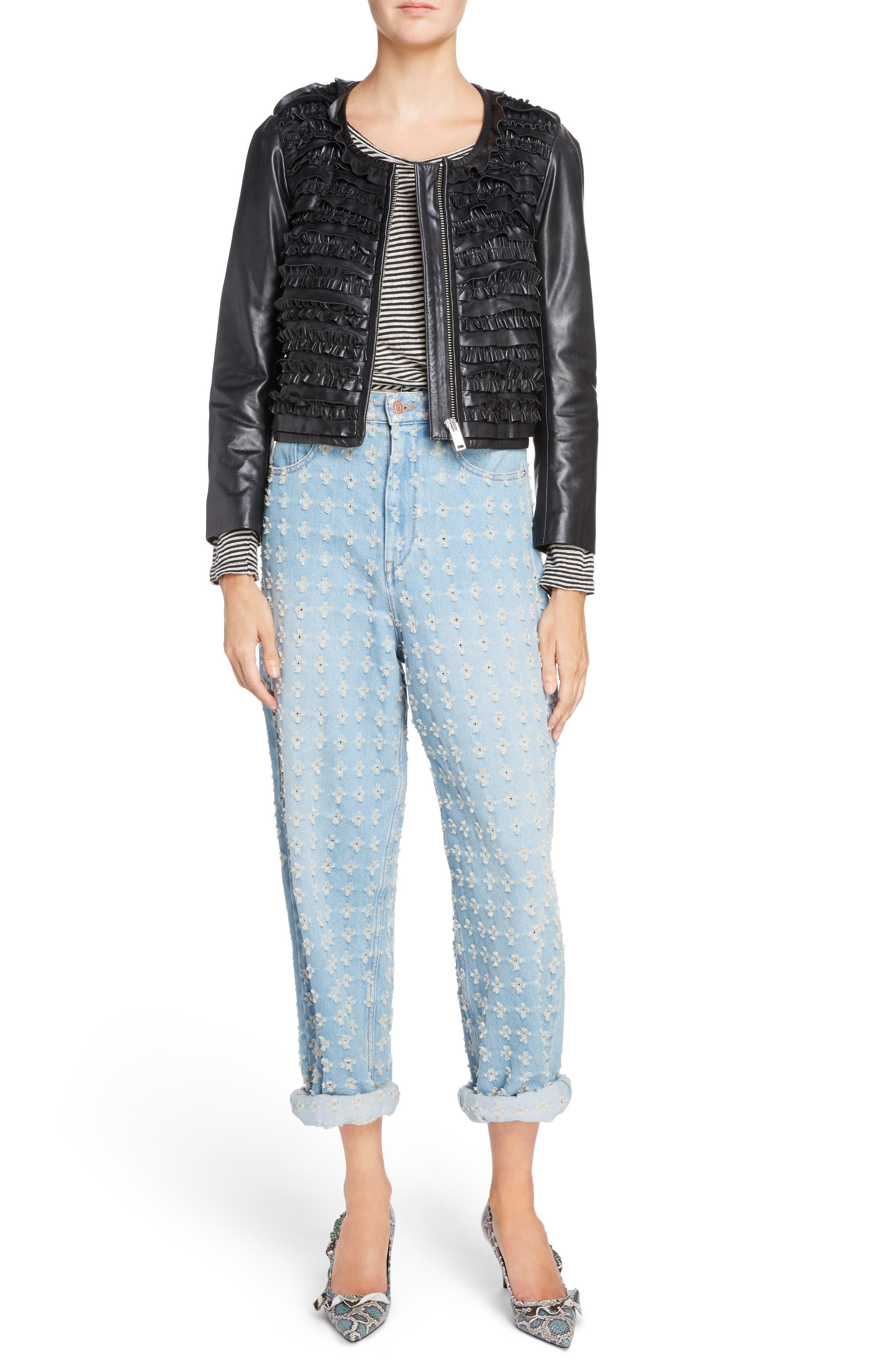 Isabel Marant Étoile Abella Frill Leather Jacket,                             Alternate thumbnail 7, color,